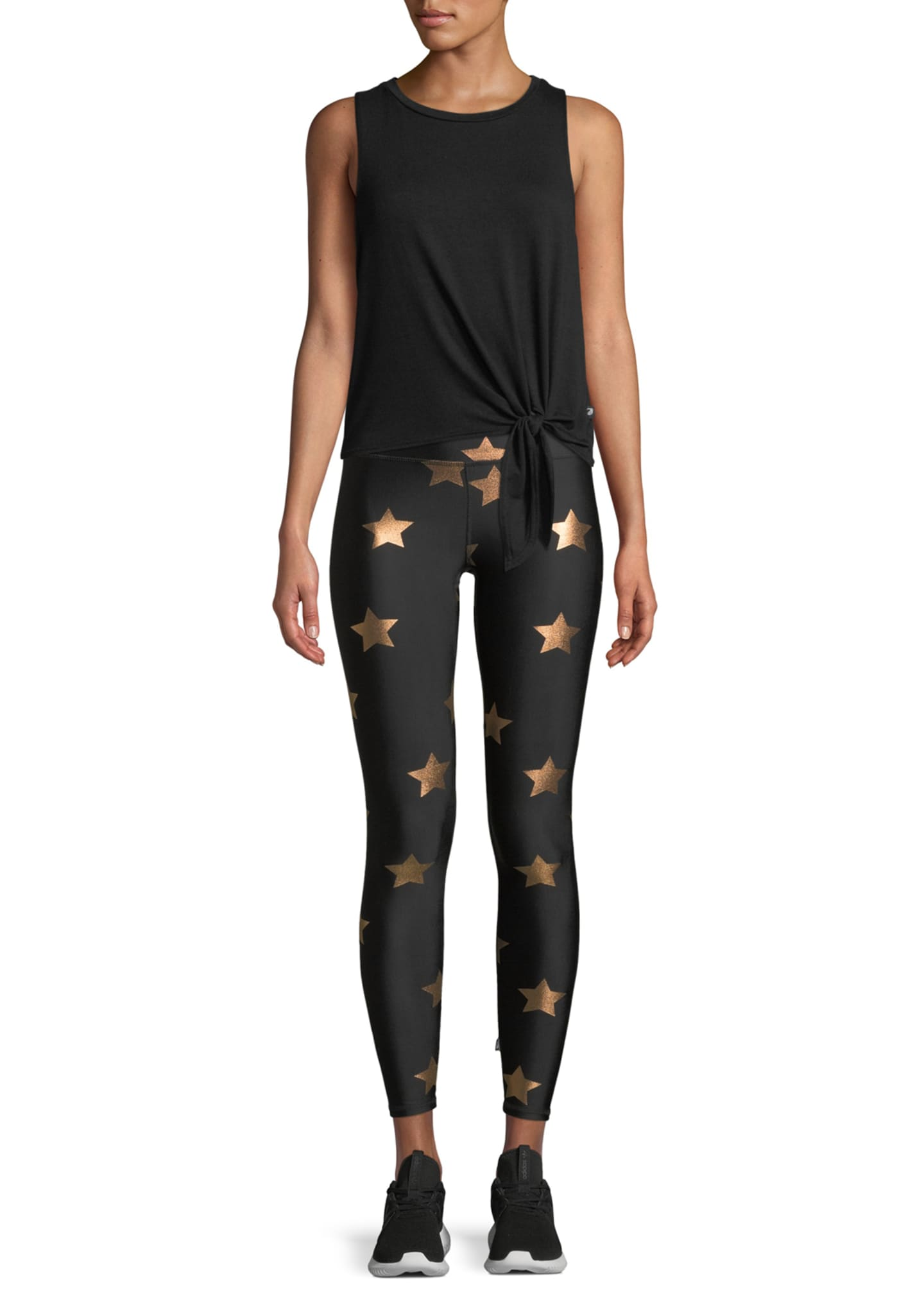 Image 3 of 4: Star Foil Printed Tall Band Performance Leggings
