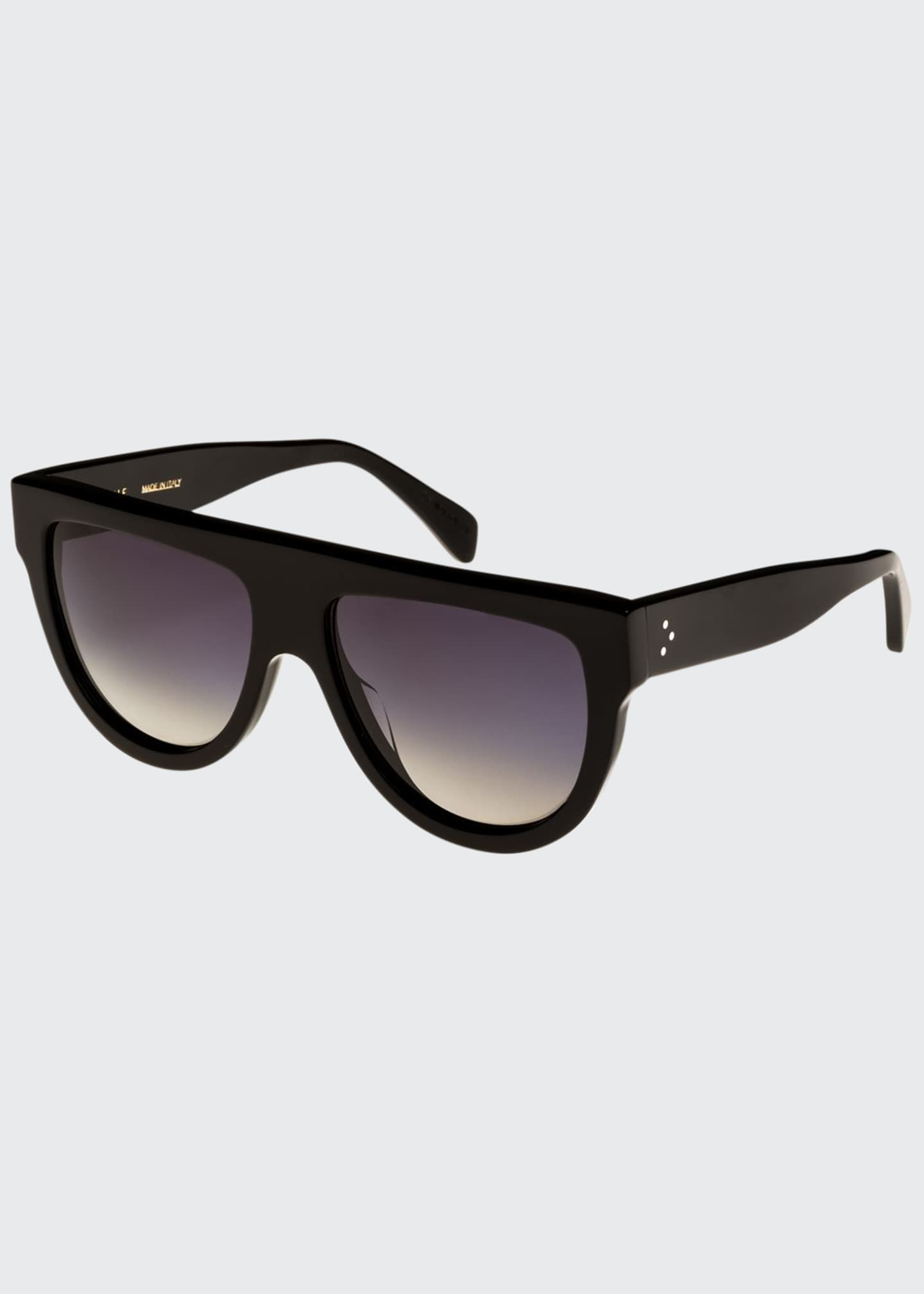 Celine Flattop Gradient Shield Sunglasses, Black Pattern