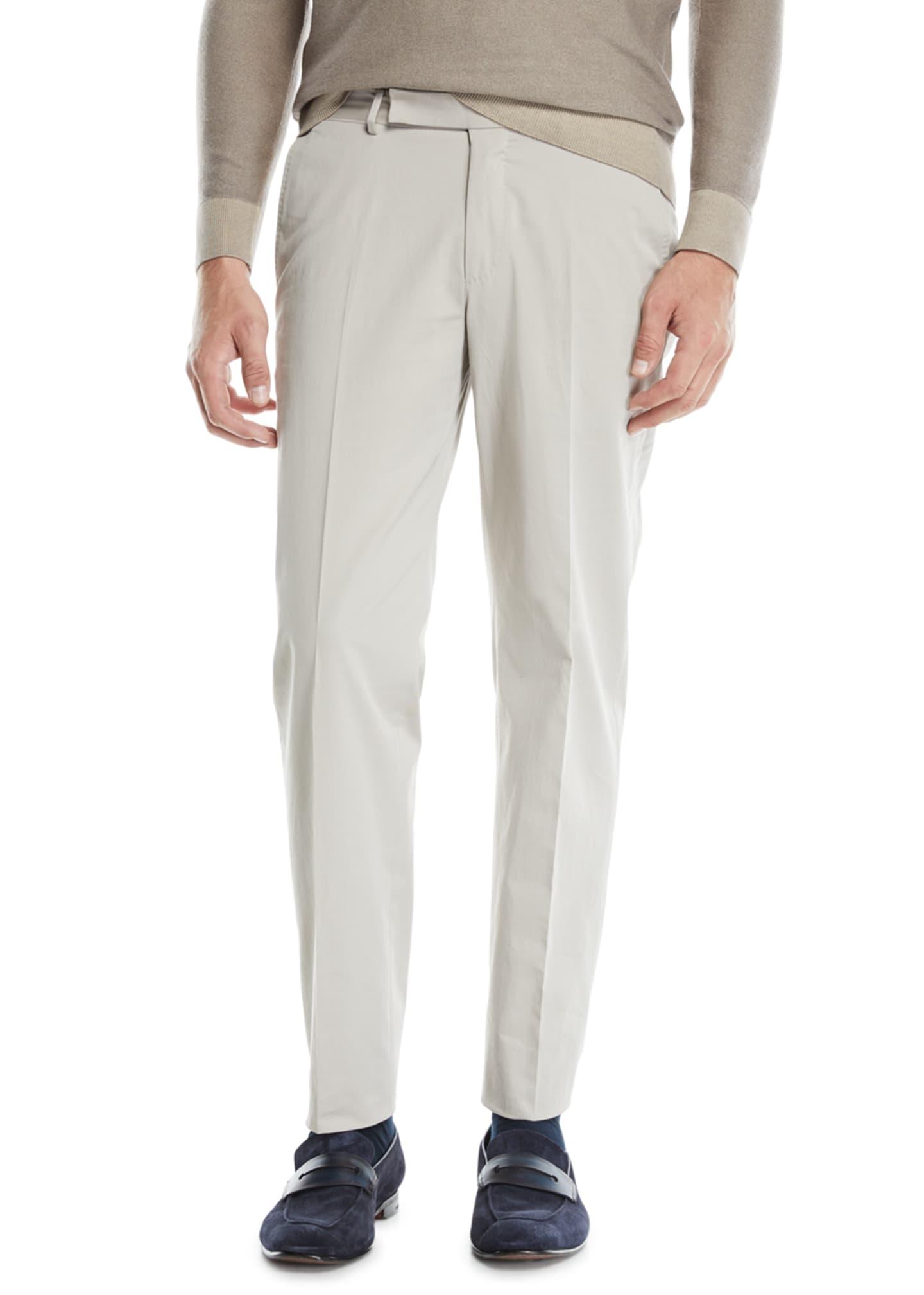 Ermenegildo Zegna Men's Flat-Front Cotton/Cashmere Chino Pants