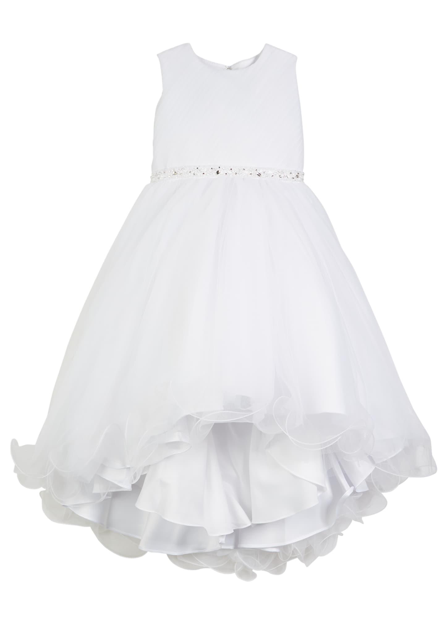 Joan Calabrese Diagonal Sheer Top Dress w/ Rhinestone