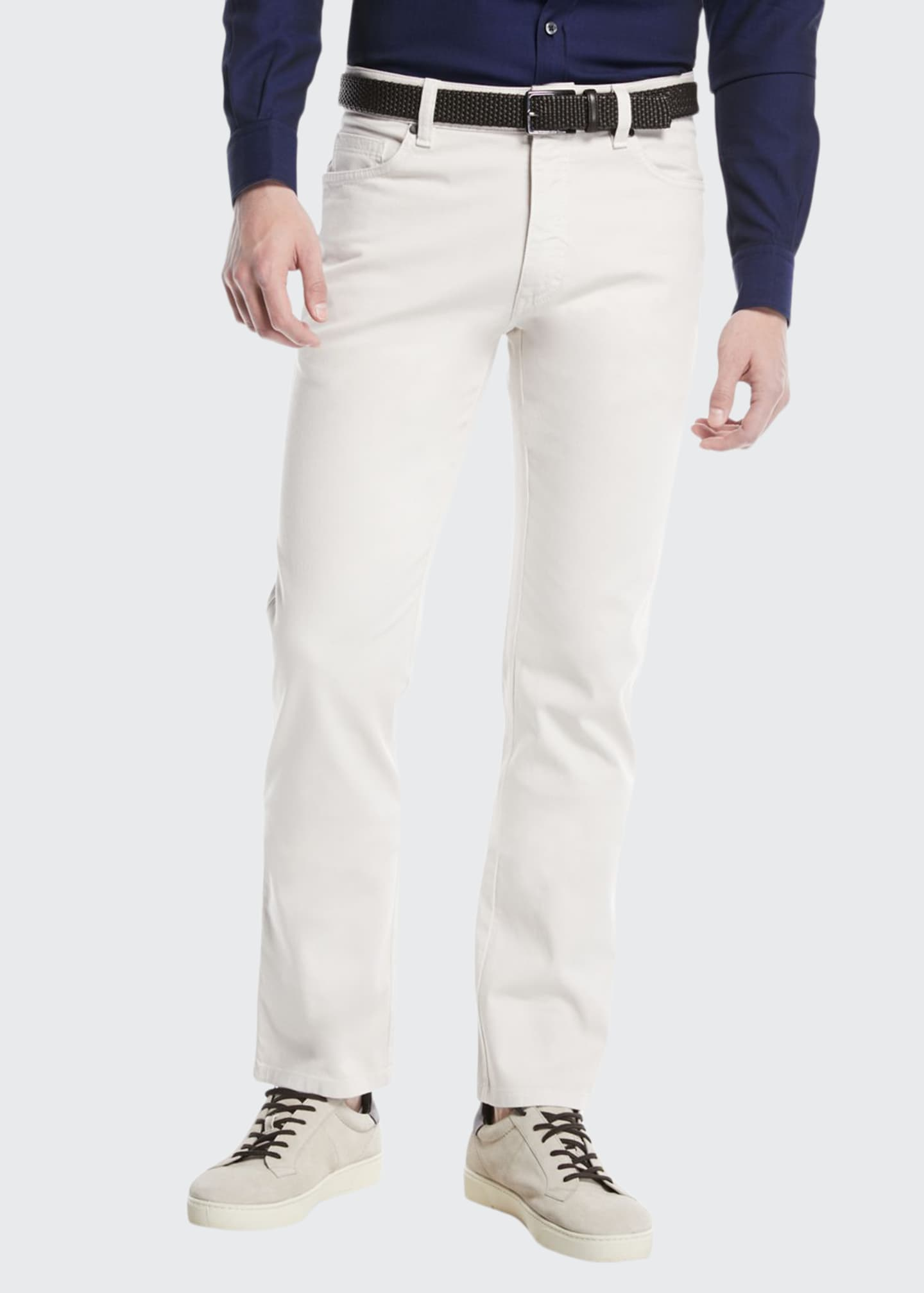 Image 1 of 3: Cotton Canvas Regular-Fit Chino Pants, White