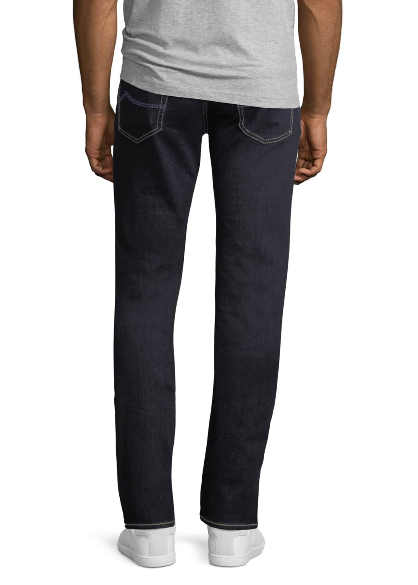 Image 2 of 3: Straight-Leg Stretch-Denim Jeans with Contrast Stitching
