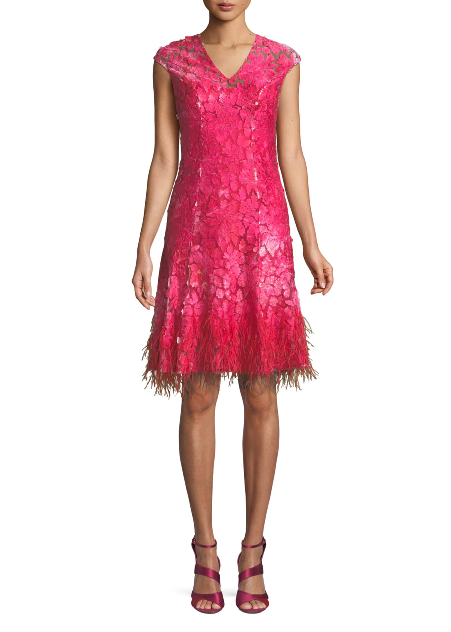 Elie Tahari Moriah Mesh Overlay Dress w/ Feather