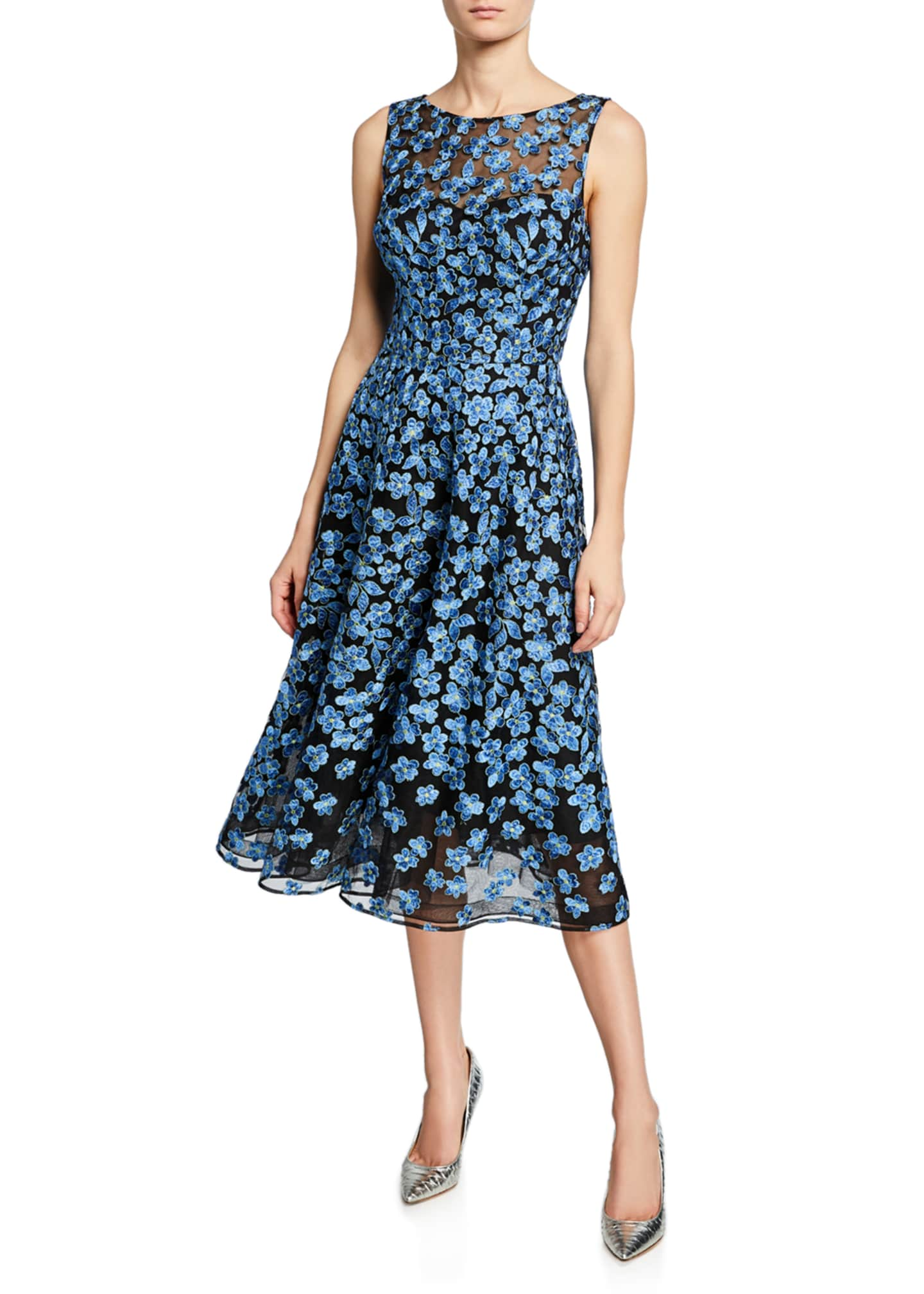 Rickie Freeman for Teri Jon Sleeveless Floral Embroidery