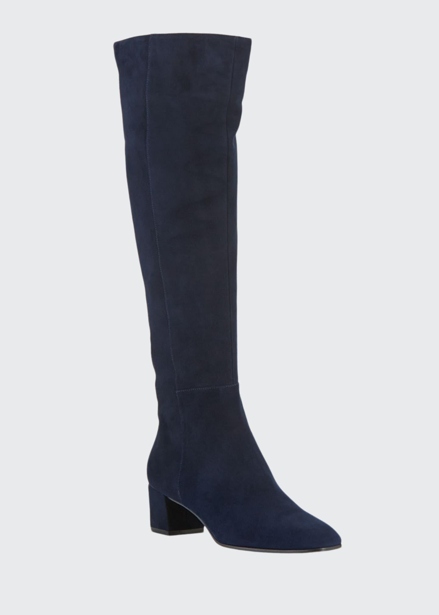 Gianvito Rossi Low-Heel Suede Knee Boots