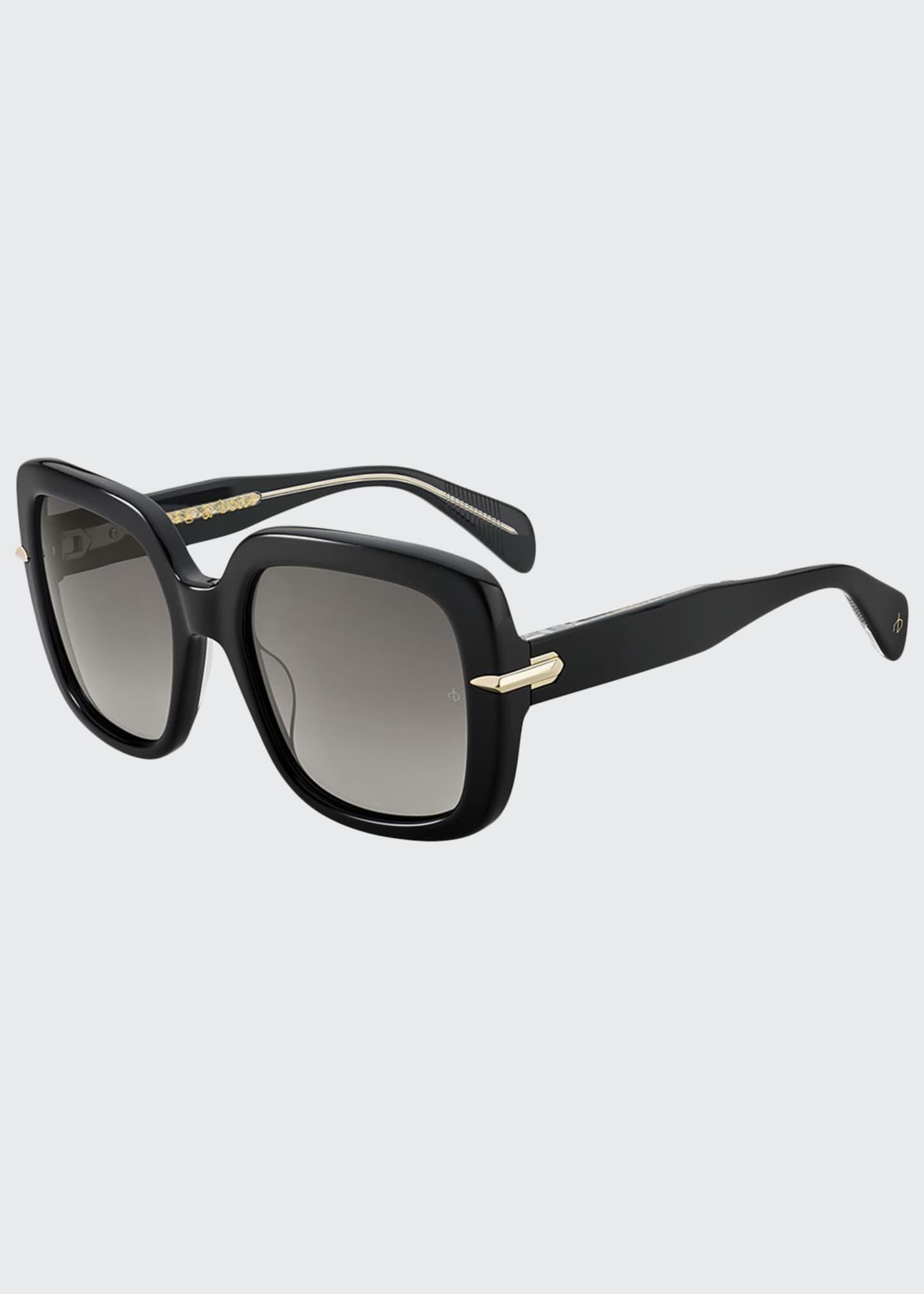 Rag & Bone Square Polarized Acetate Sunglasses w/