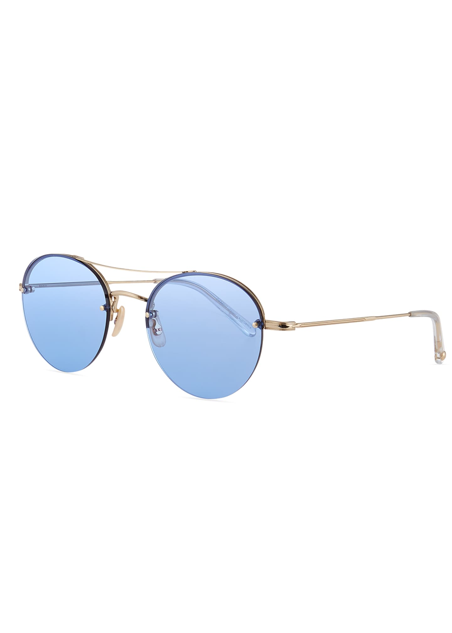 Garrett Leight Beaumont Round Steel Sunglasses