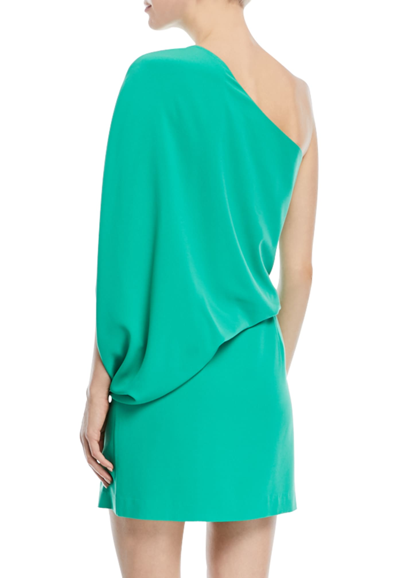 Image 2 of 2: One-Shoulder Asymmetric-Sleeve Dress