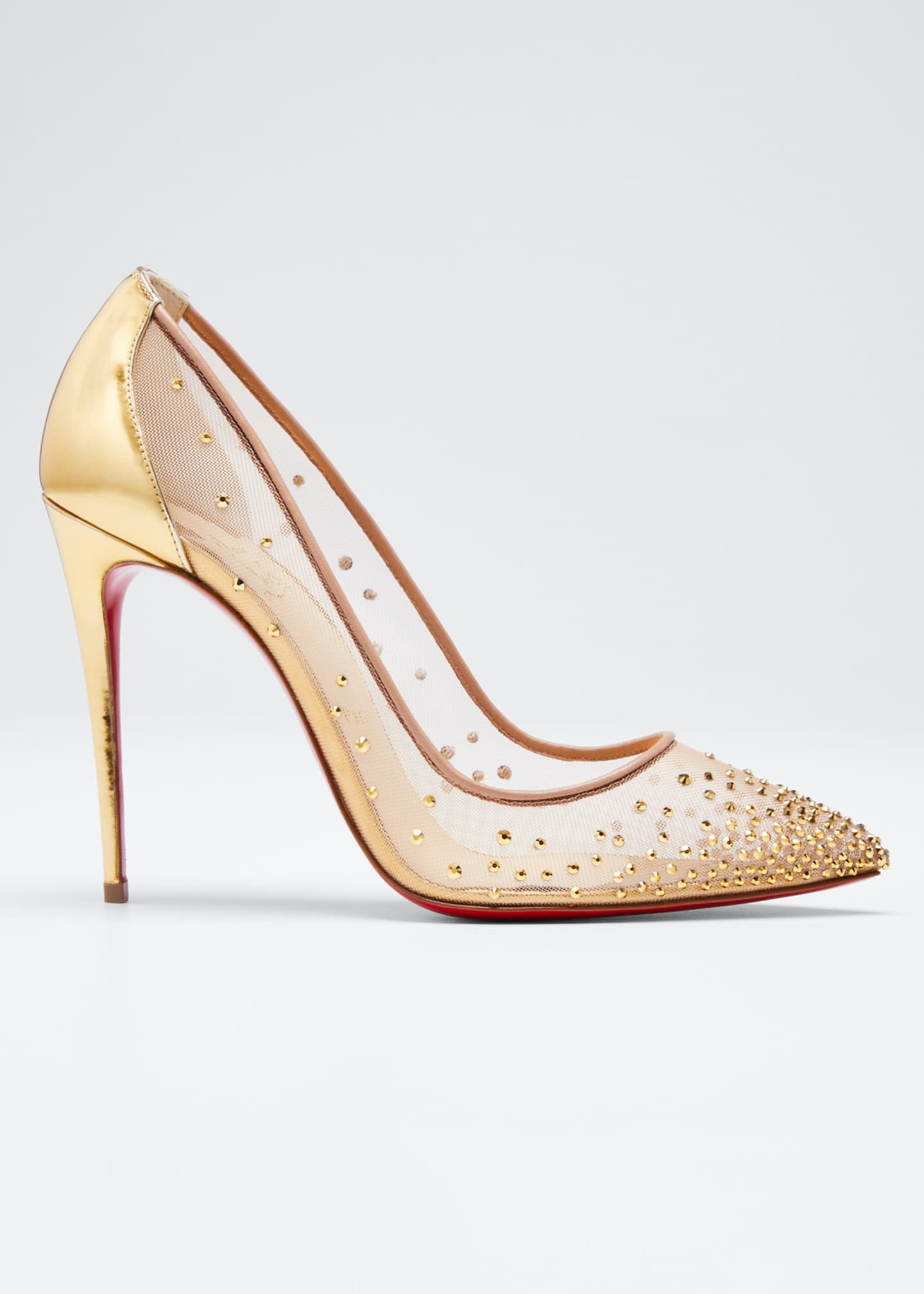 Christian Louboutin Follies Strass Crystal Mesh Red Sole