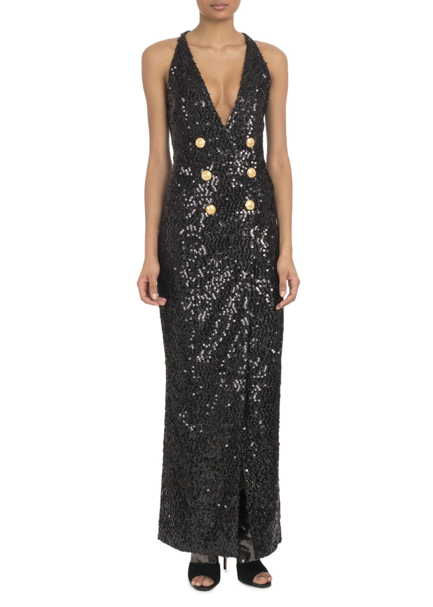 Balmain Sleeveless Deep-V Six-Button Paillettes Sequin Evening
