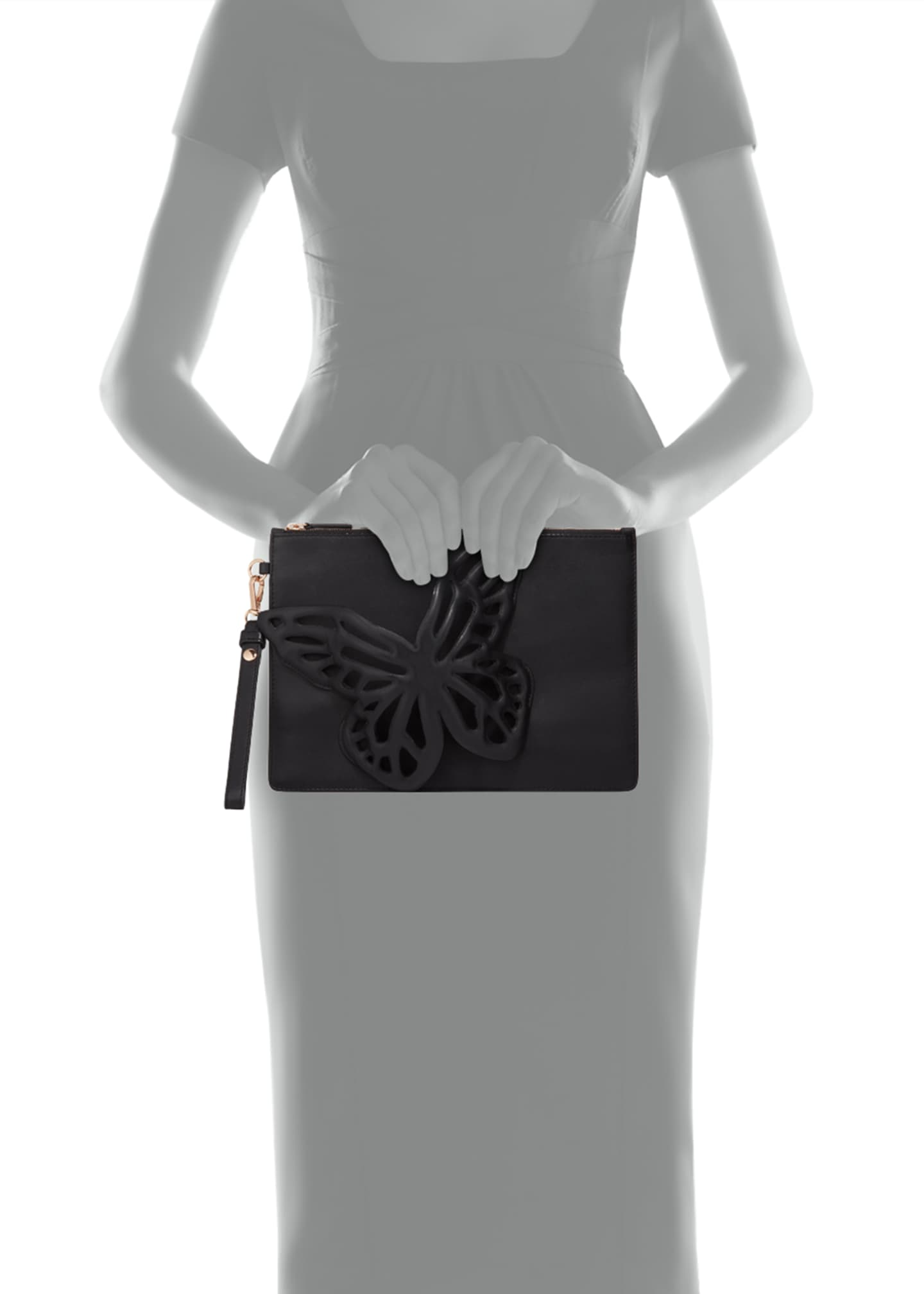 Image 4 of 5: Flossy Butterfly Leather Pochette Clutch Bag