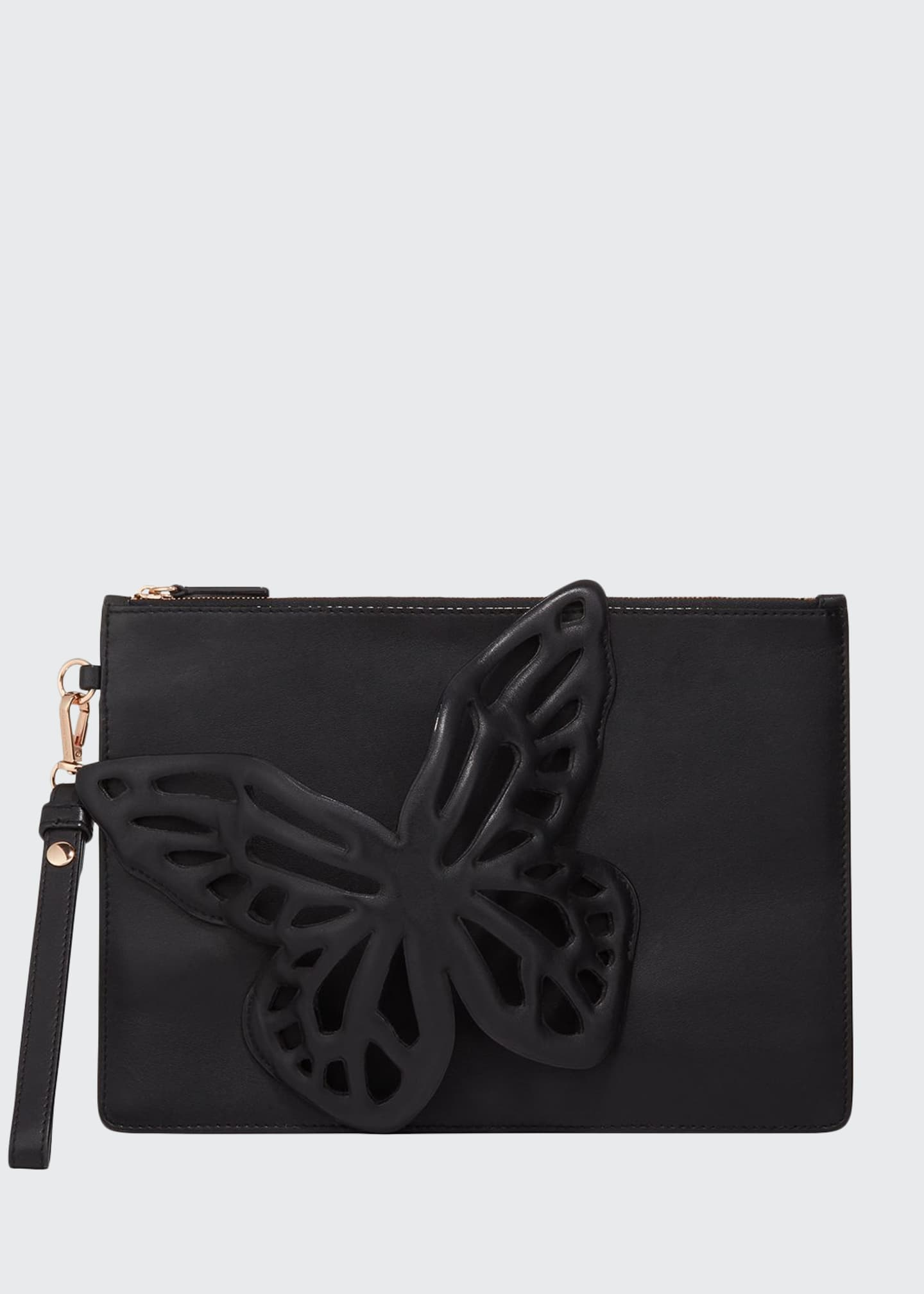 Image 1 of 5: Flossy Butterfly Leather Pochette Clutch Bag