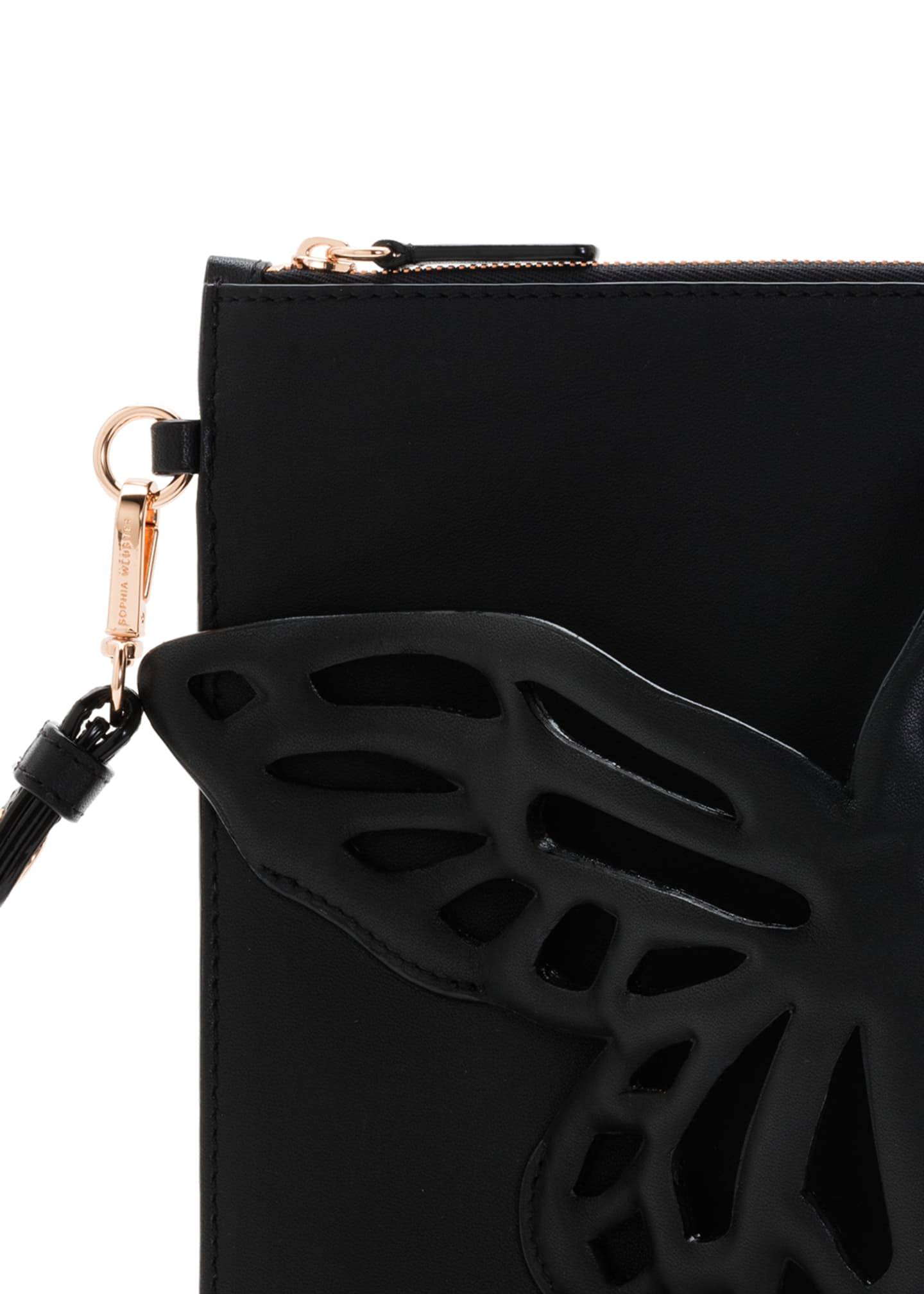 Image 5 of 5: Flossy Butterfly Leather Pochette Clutch Bag