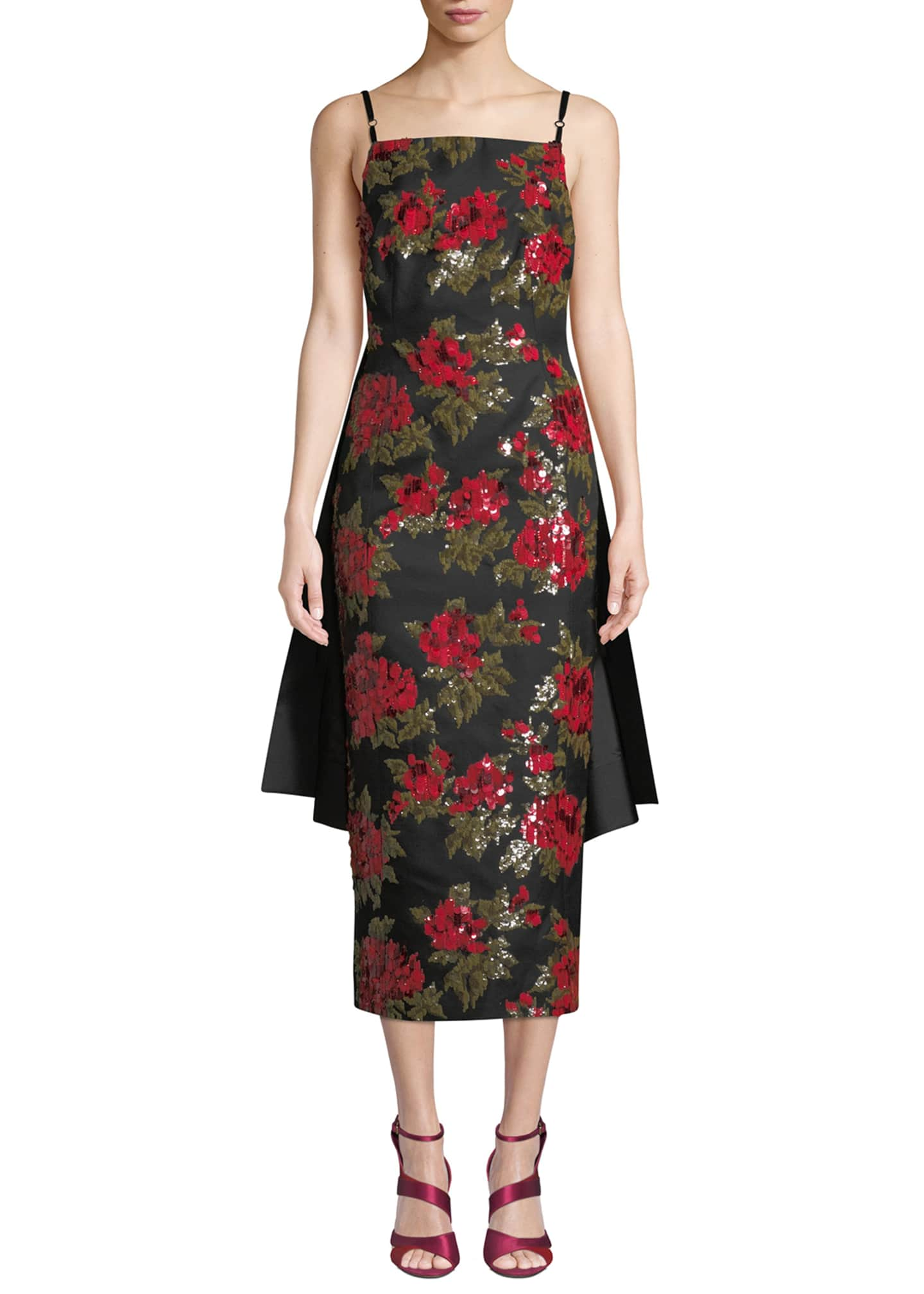 Michael Kors Collection Chine Floral-Embroidered Cocktail Dress