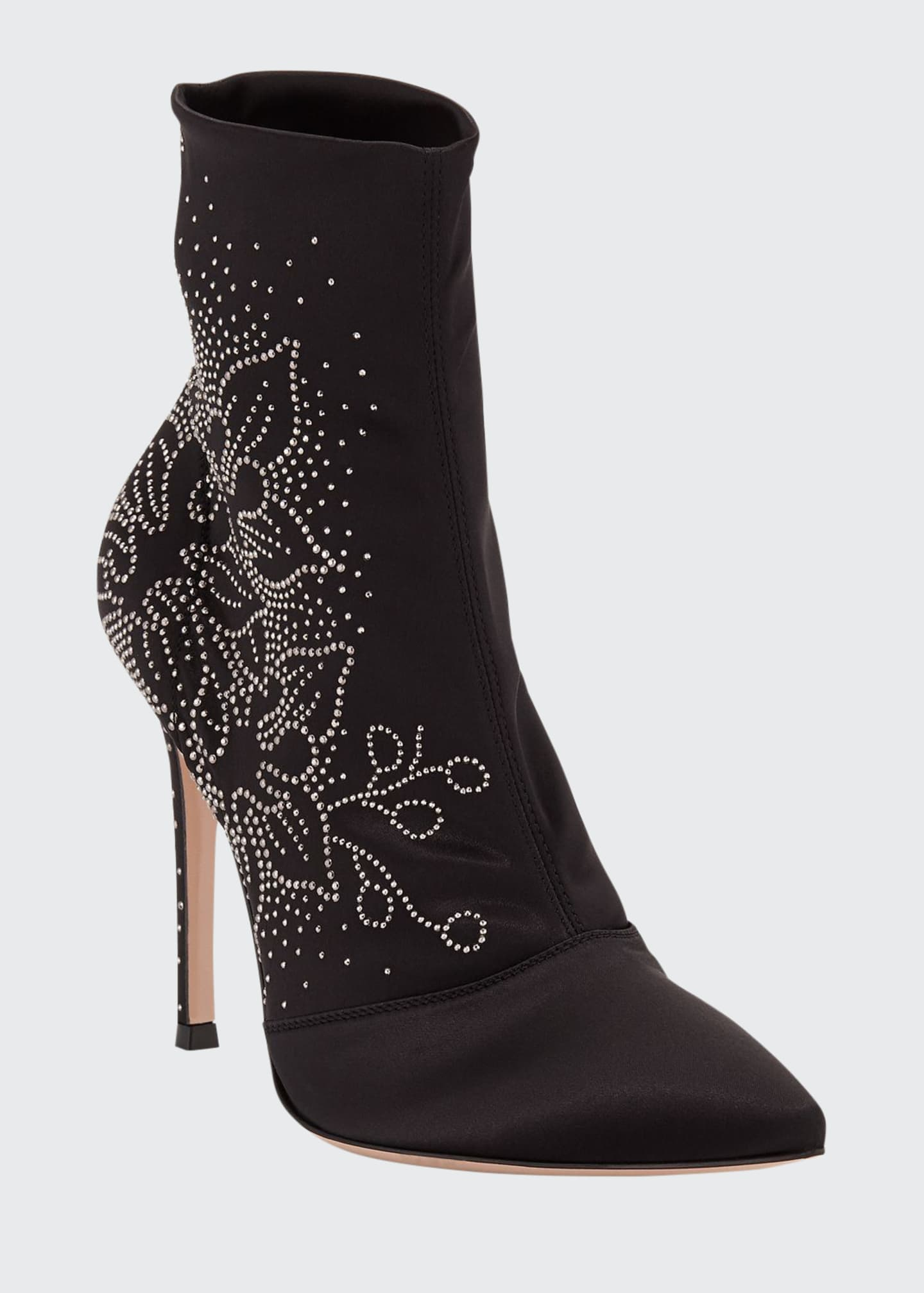 Gianvito Rossi Flower-Studded 105mm Booties
