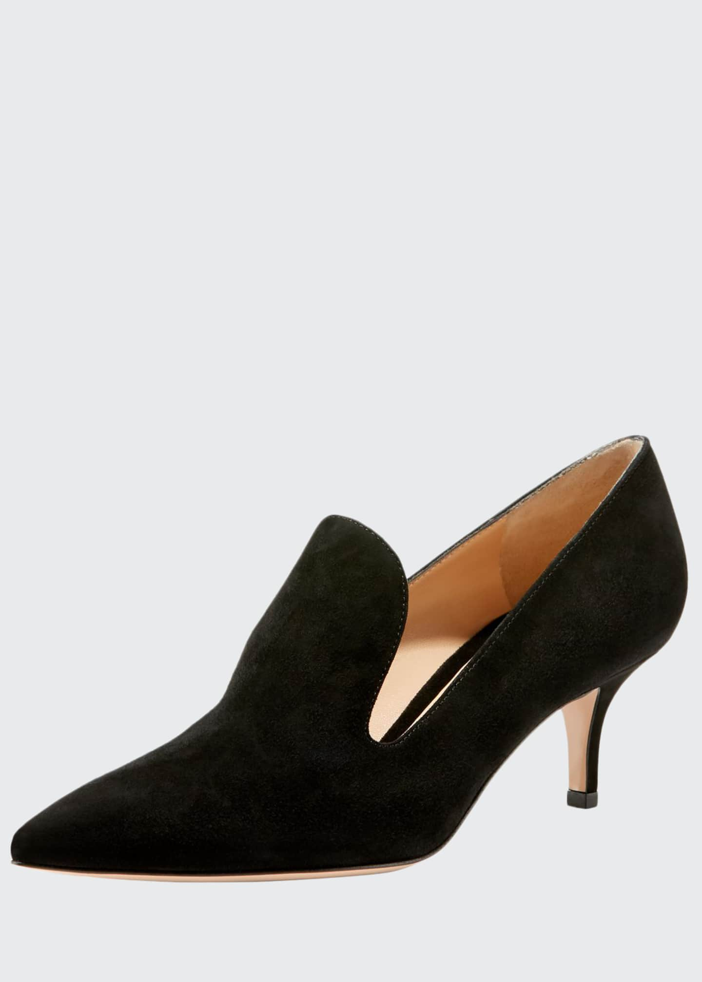 Gianvito Rossi Suede Loafer-Style Pumps