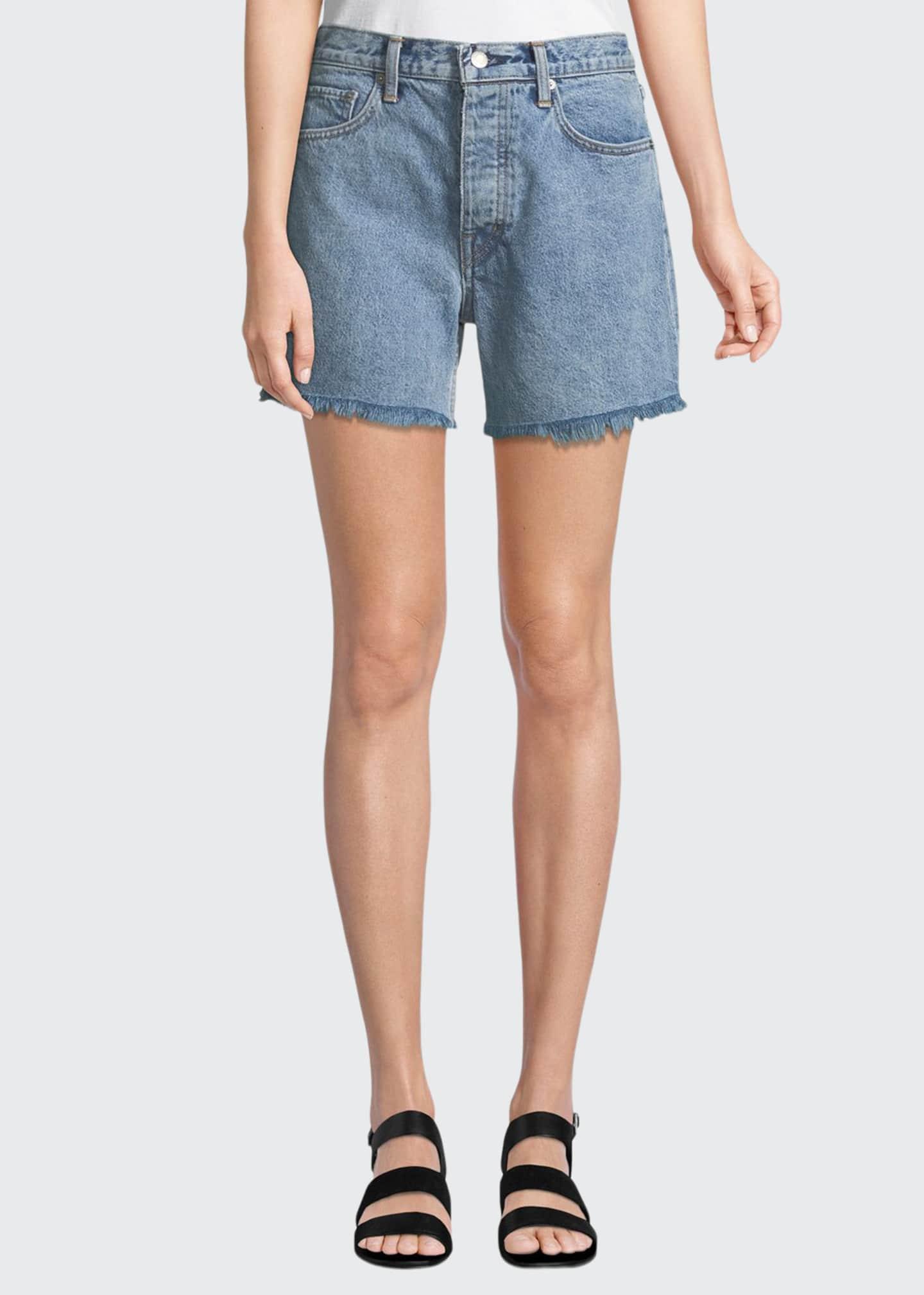 Helmut Lang Boy-Fit Frayed Denim Cutoff Shorts