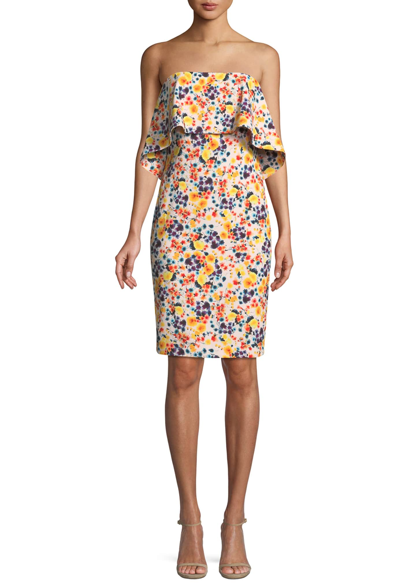 Badgley Mischka Collection Strapless Ditsy-Print Popover Dress