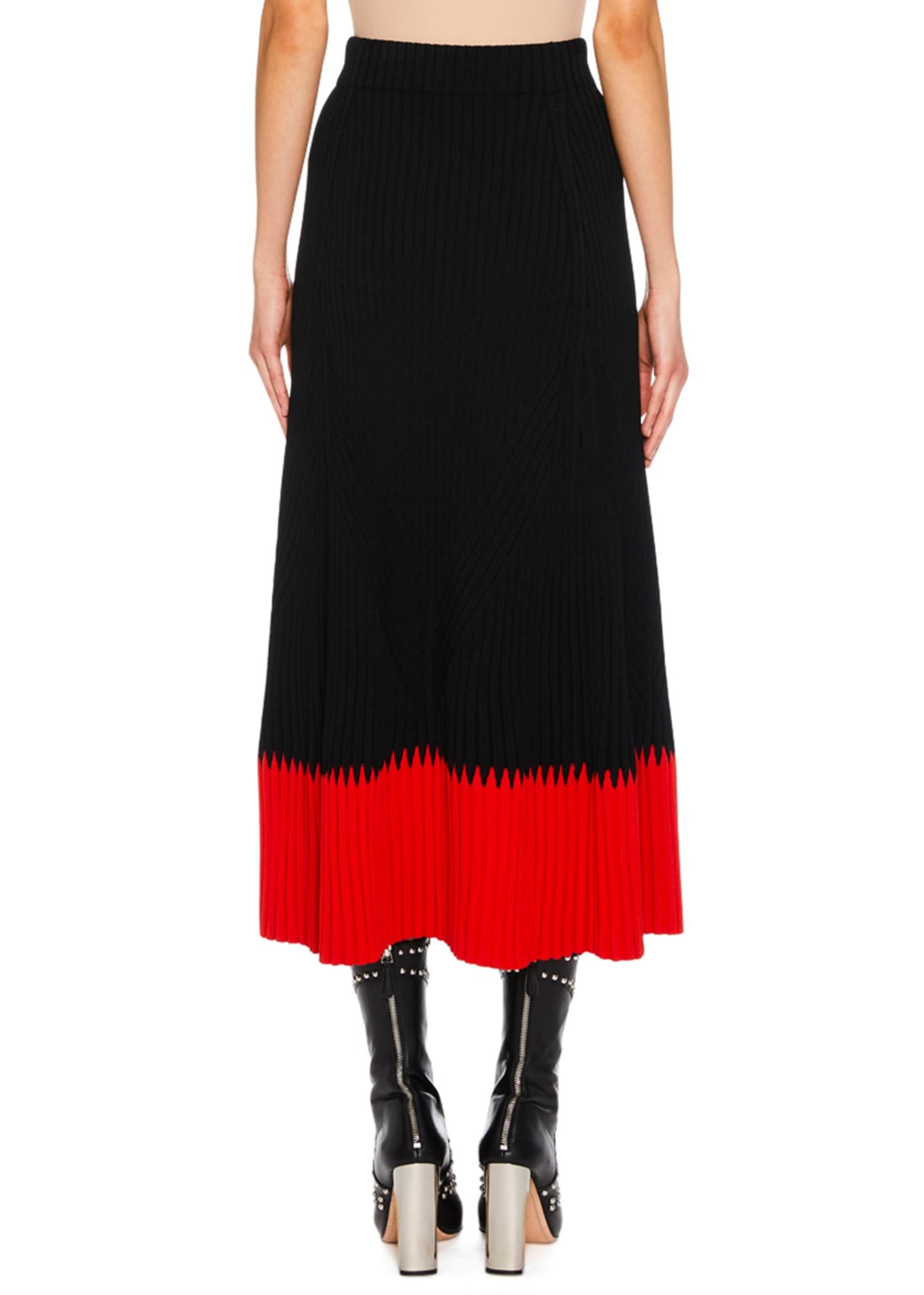 Image 2 of 2: A-Line Long Ribbed Skirt w/ Contrast Tip