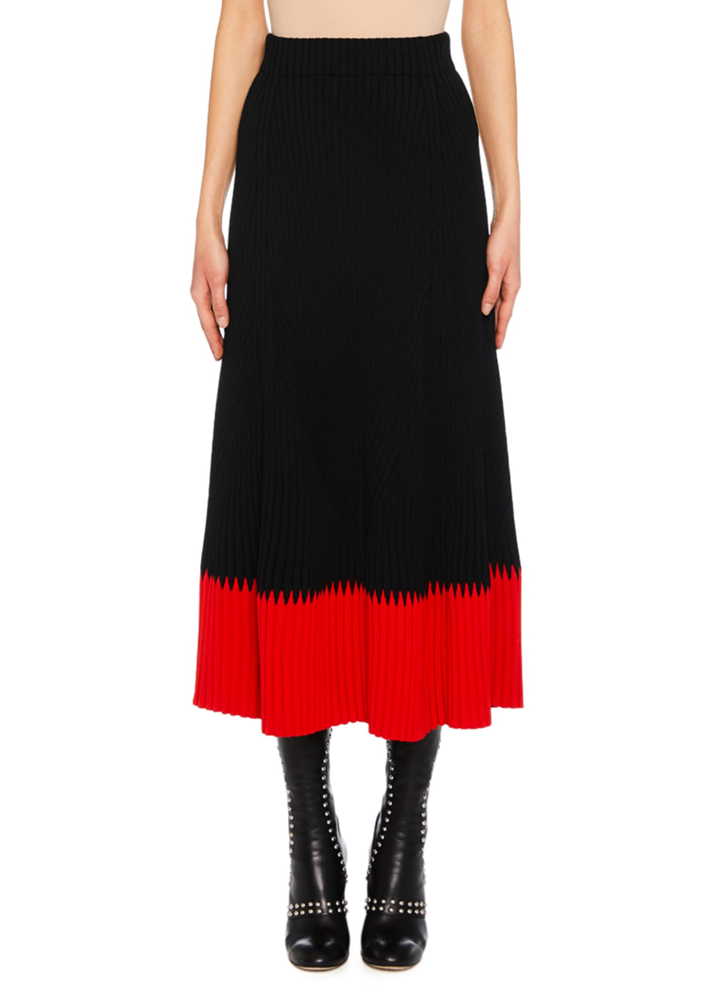 Image 1 of 2: A-Line Long Ribbed Skirt w/ Contrast Tip