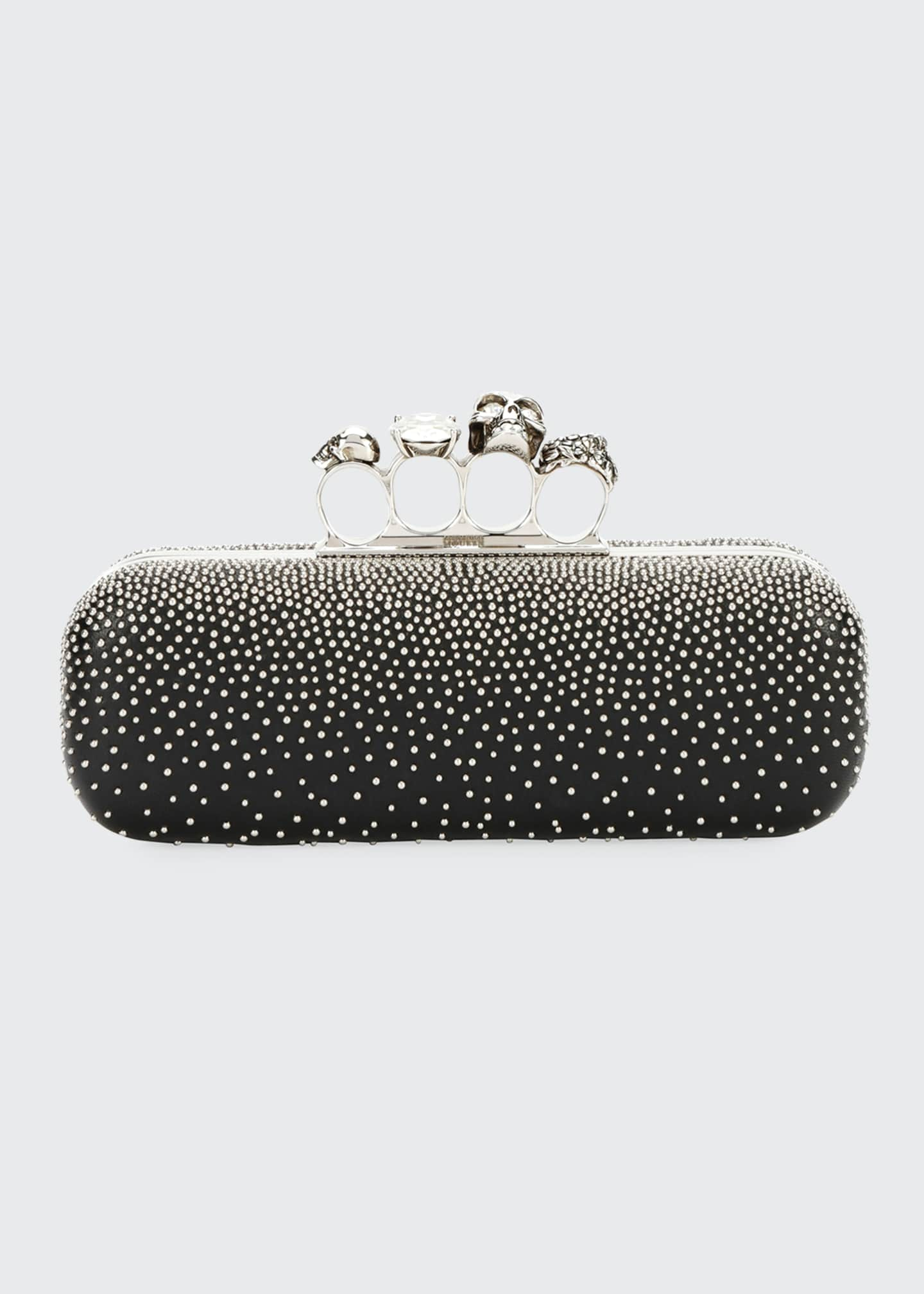 Alexander McQueen Four-Ring Knuckle Studded Napa Box Clutch