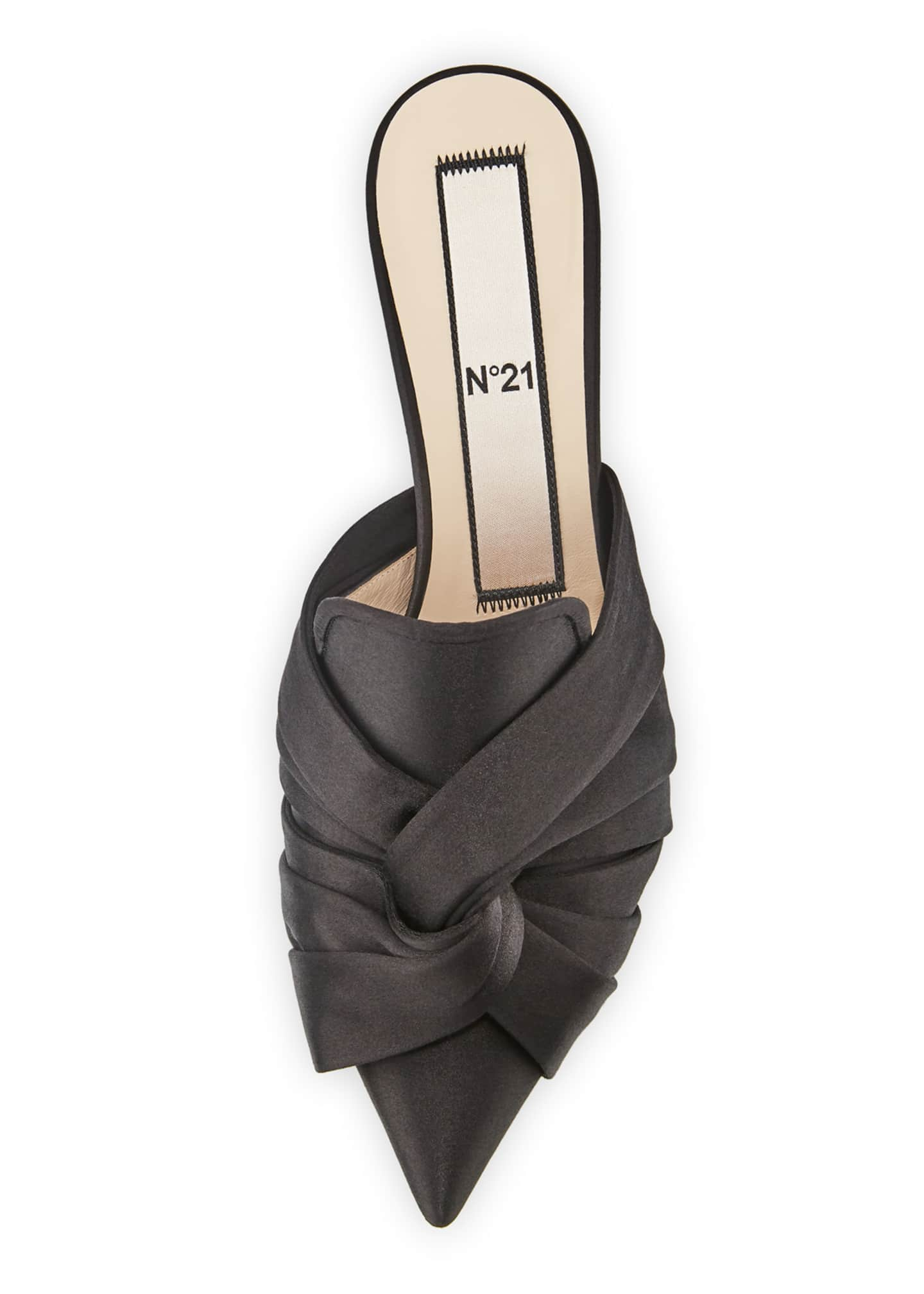 Image 3 of 4: Knotted Satin Slide Mule
