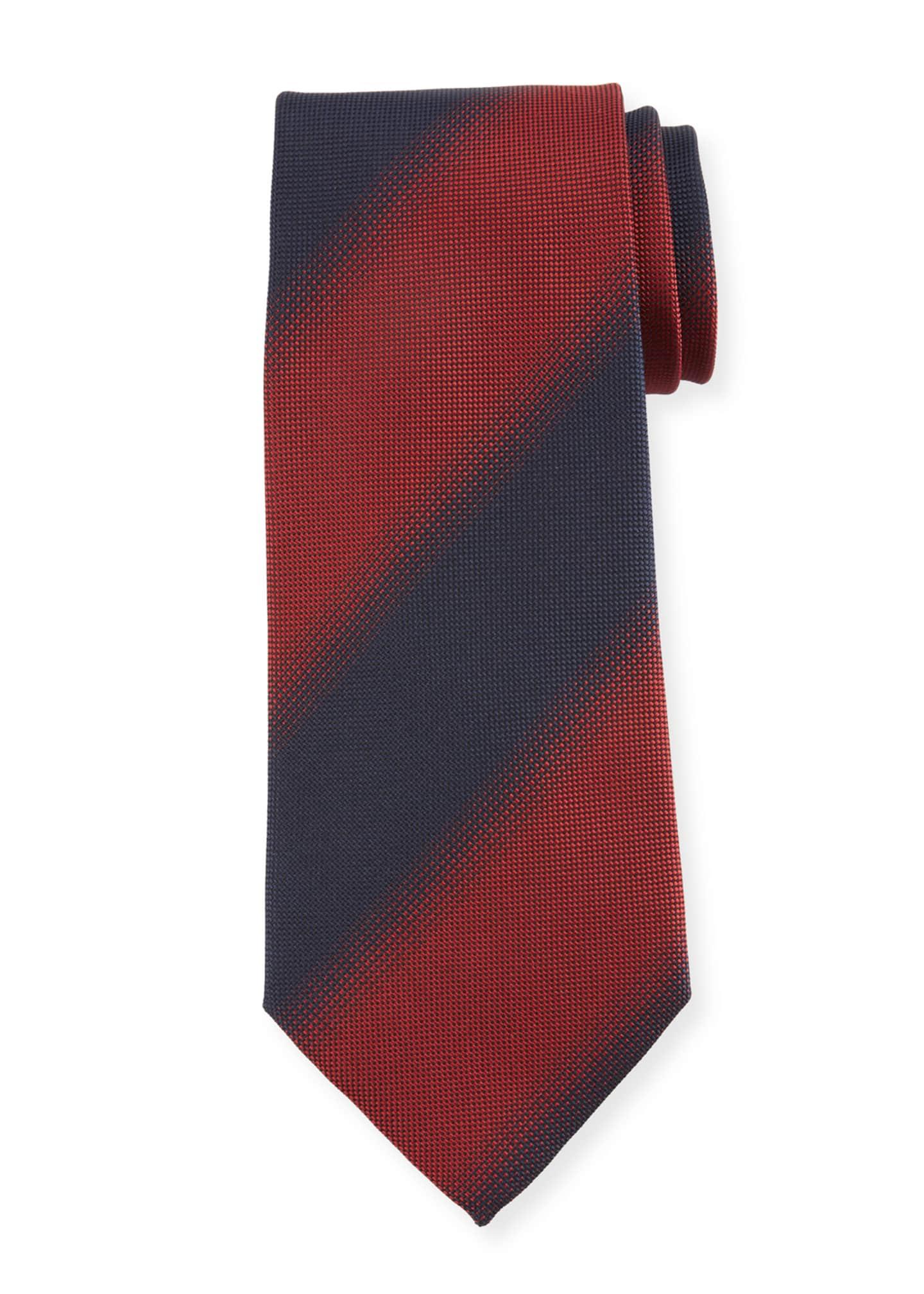 Ermenegildo Zegna Shadow Striped Silk Tie, Red
