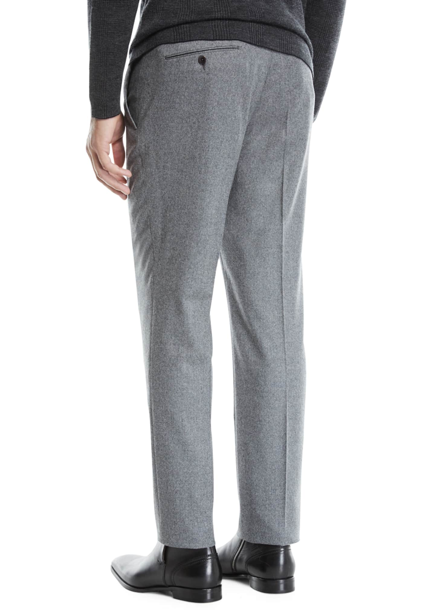 Image 2 of 3: Men's Melange Wool Straight-Leg Pants, Gray