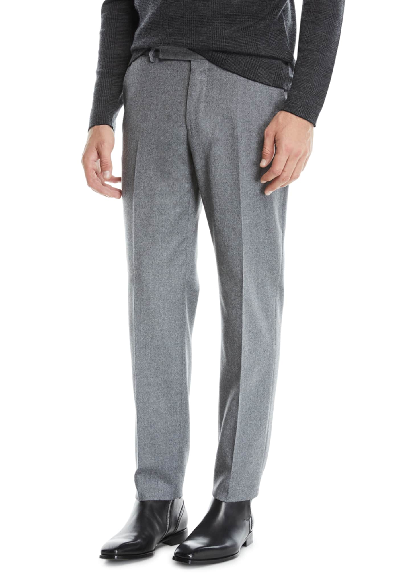 Image 1 of 3: Men's Melange Wool Straight-Leg Pants, Gray