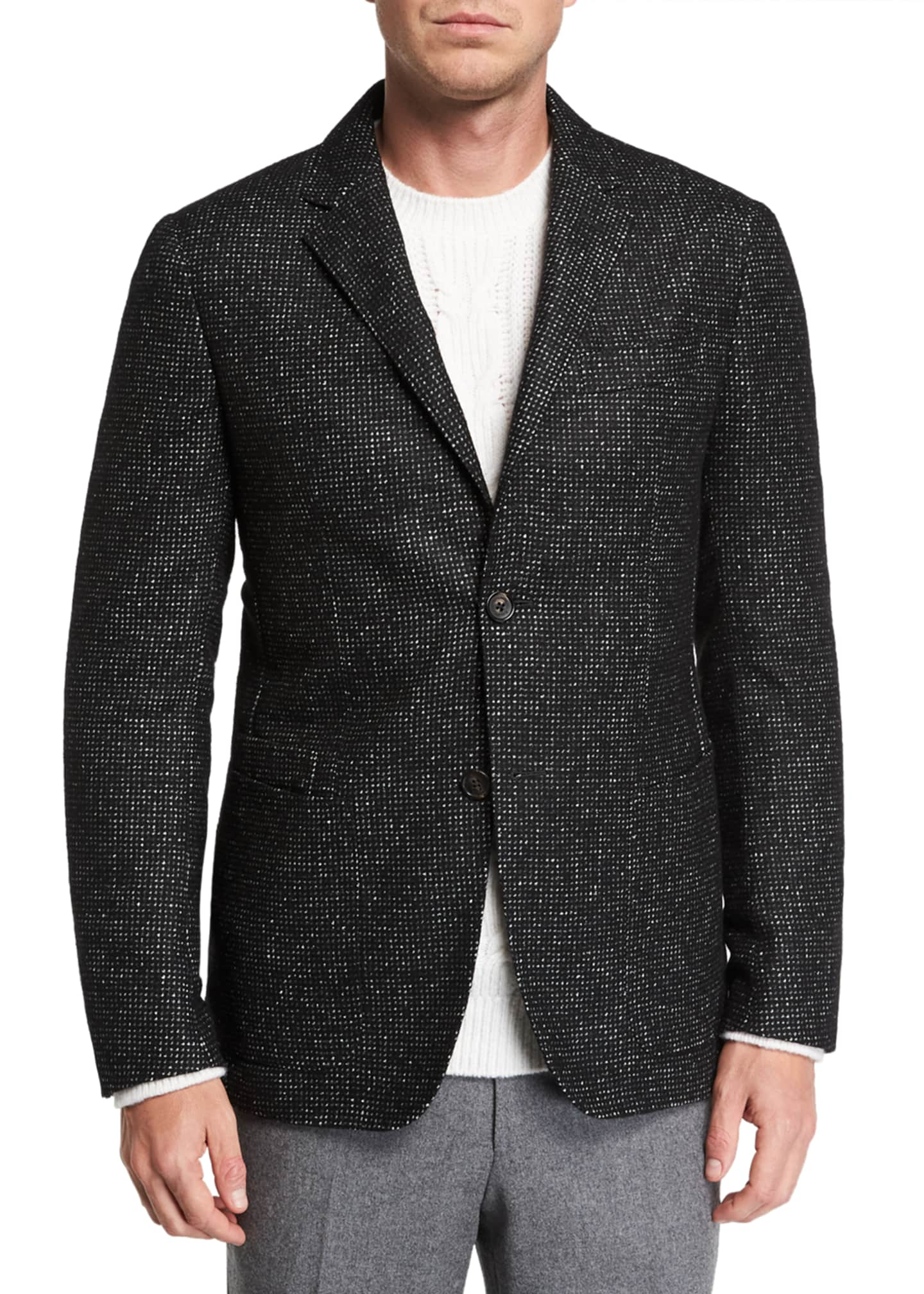 Image 1 of 3: Men's Two-Button Tic-Pattern Jacket