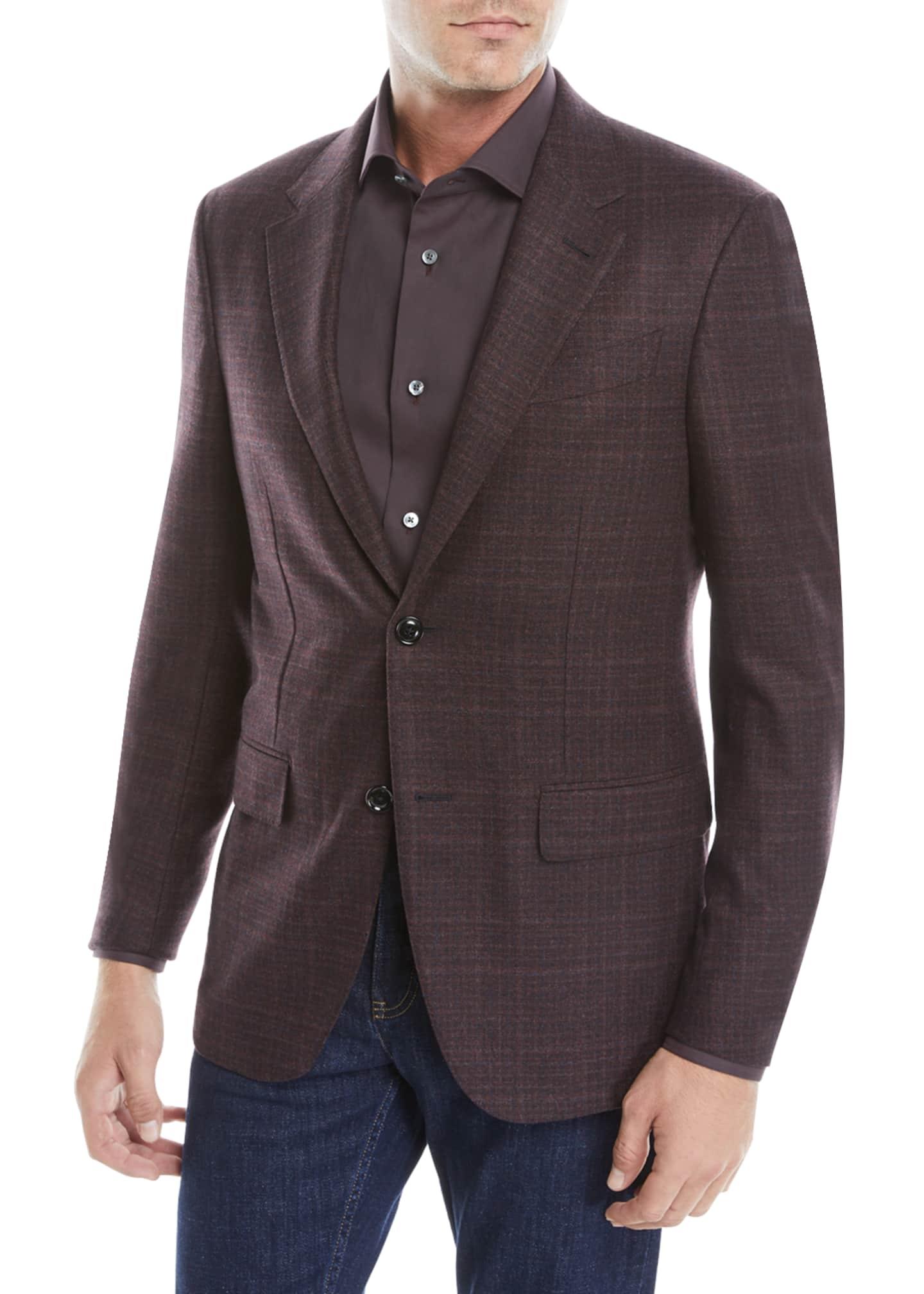 Ermenegildo Zegna Men's Two-Button Tonal Plaid Wool/Cashmere