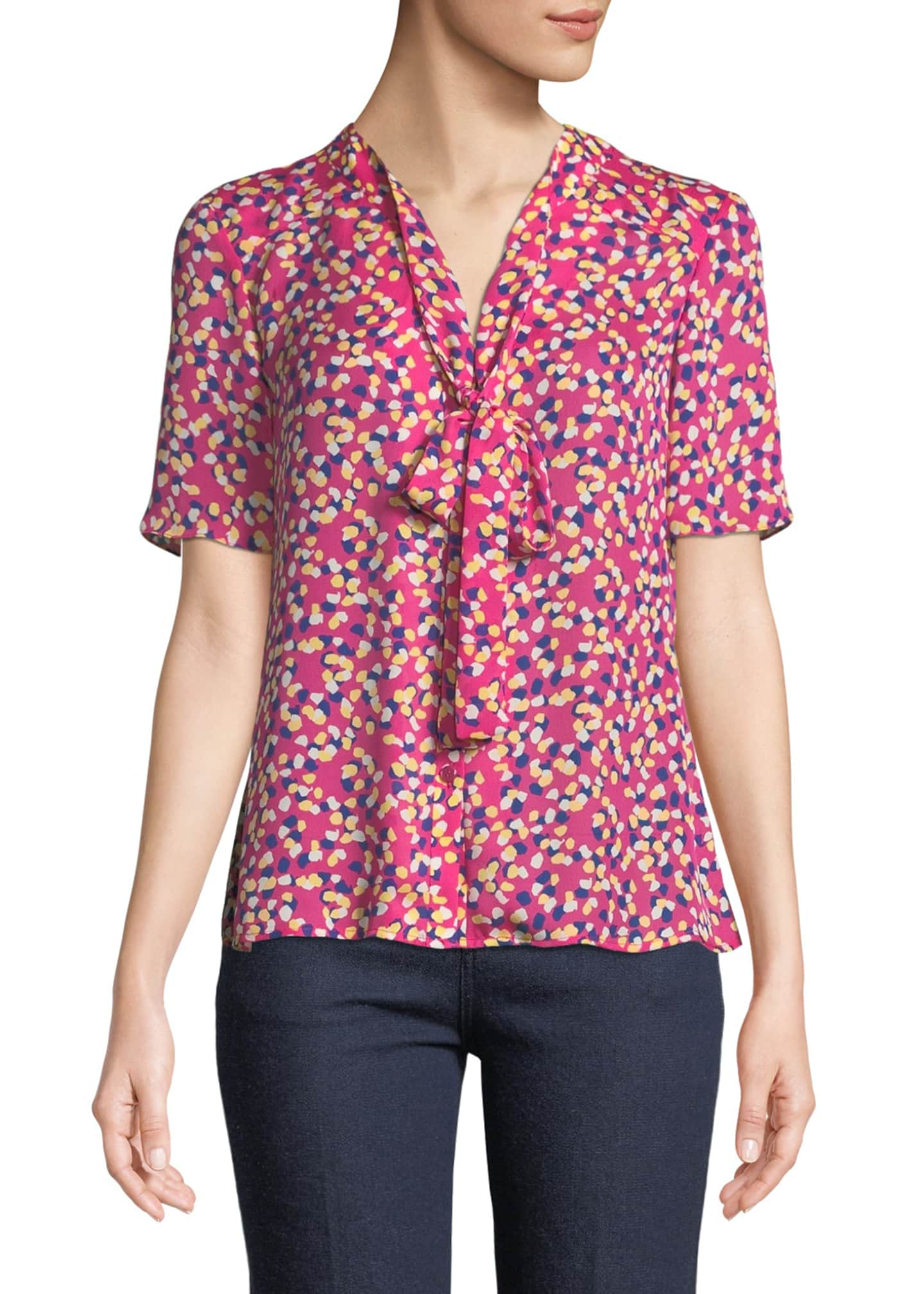 Carolina Herrera Tie-Neck Short-Sleeve Confetti-Print Silk Blouse