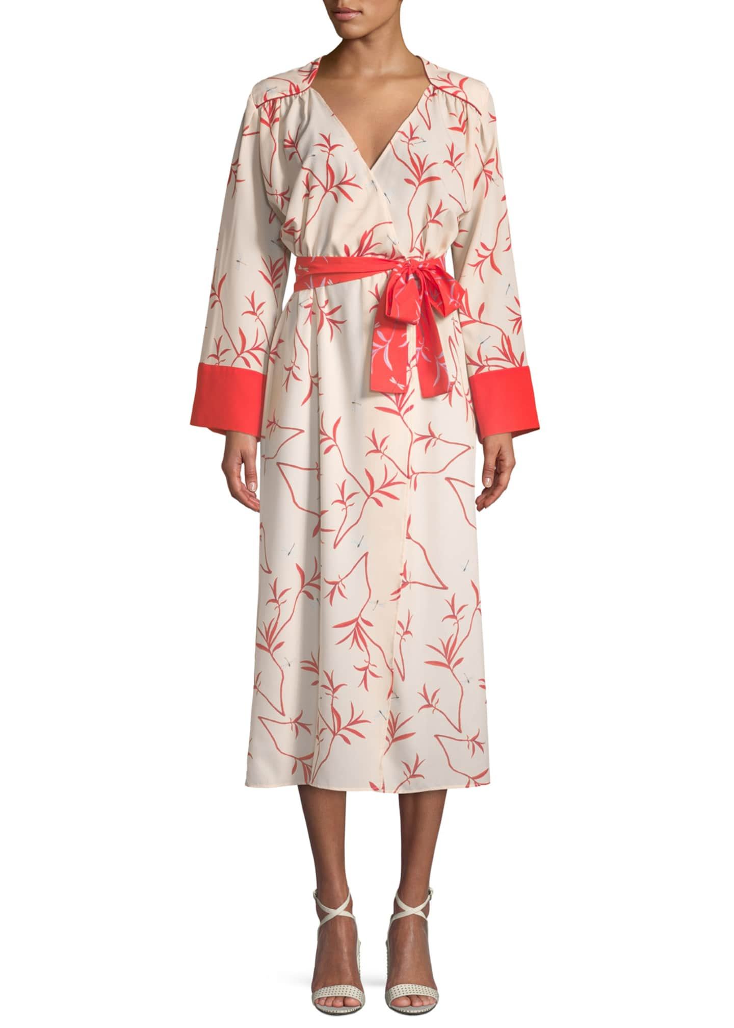 Borgo de Nor Long-Sleeve Firefly Leaf Wrap Dress