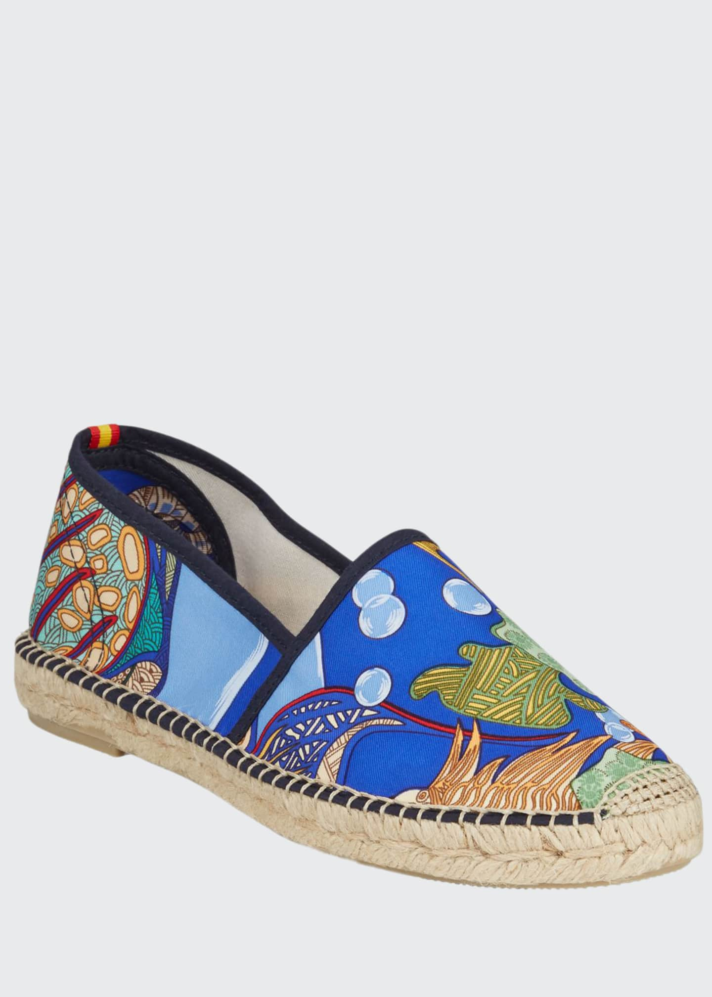 Respoke Gala Hermes Flat Silk Espadrilles