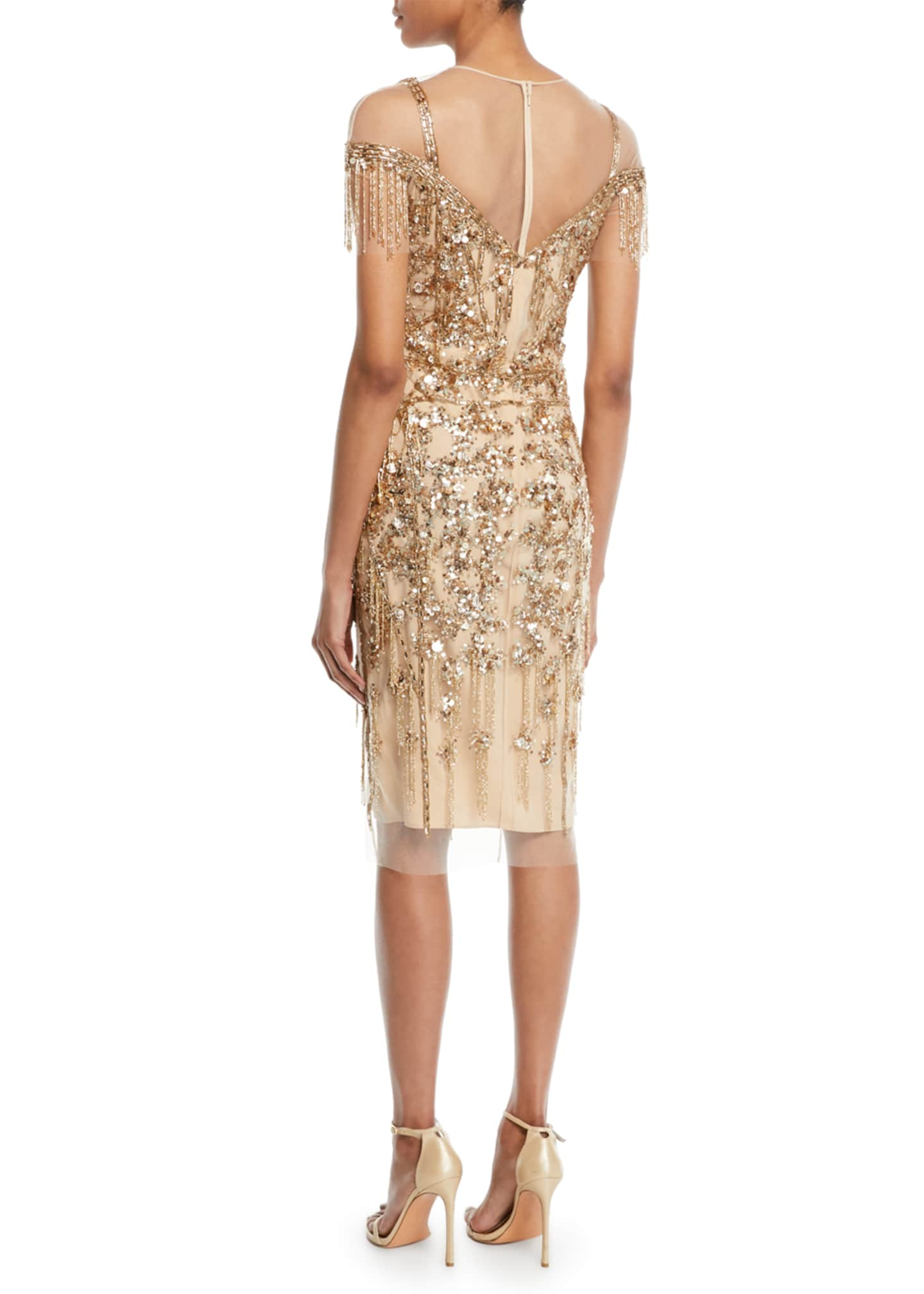 Image 2 of 2: Round-Neck Beaded-Embellished Illusion Sheath Cocktail Dress