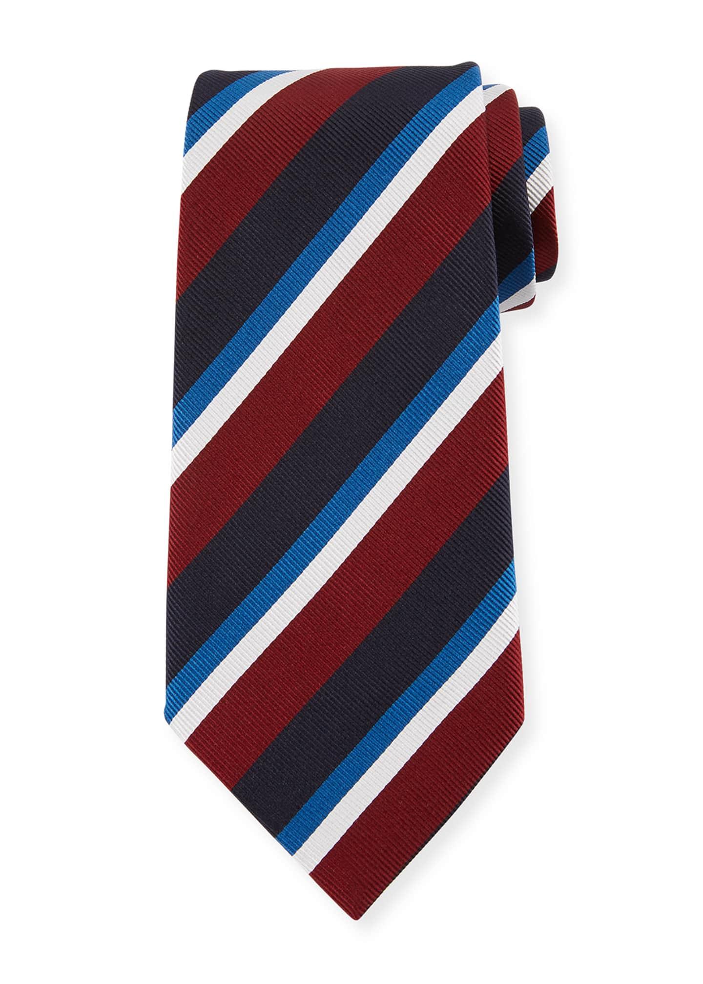 Ermenegildo Zegna Four-Color Stripe Silk Tie, Red