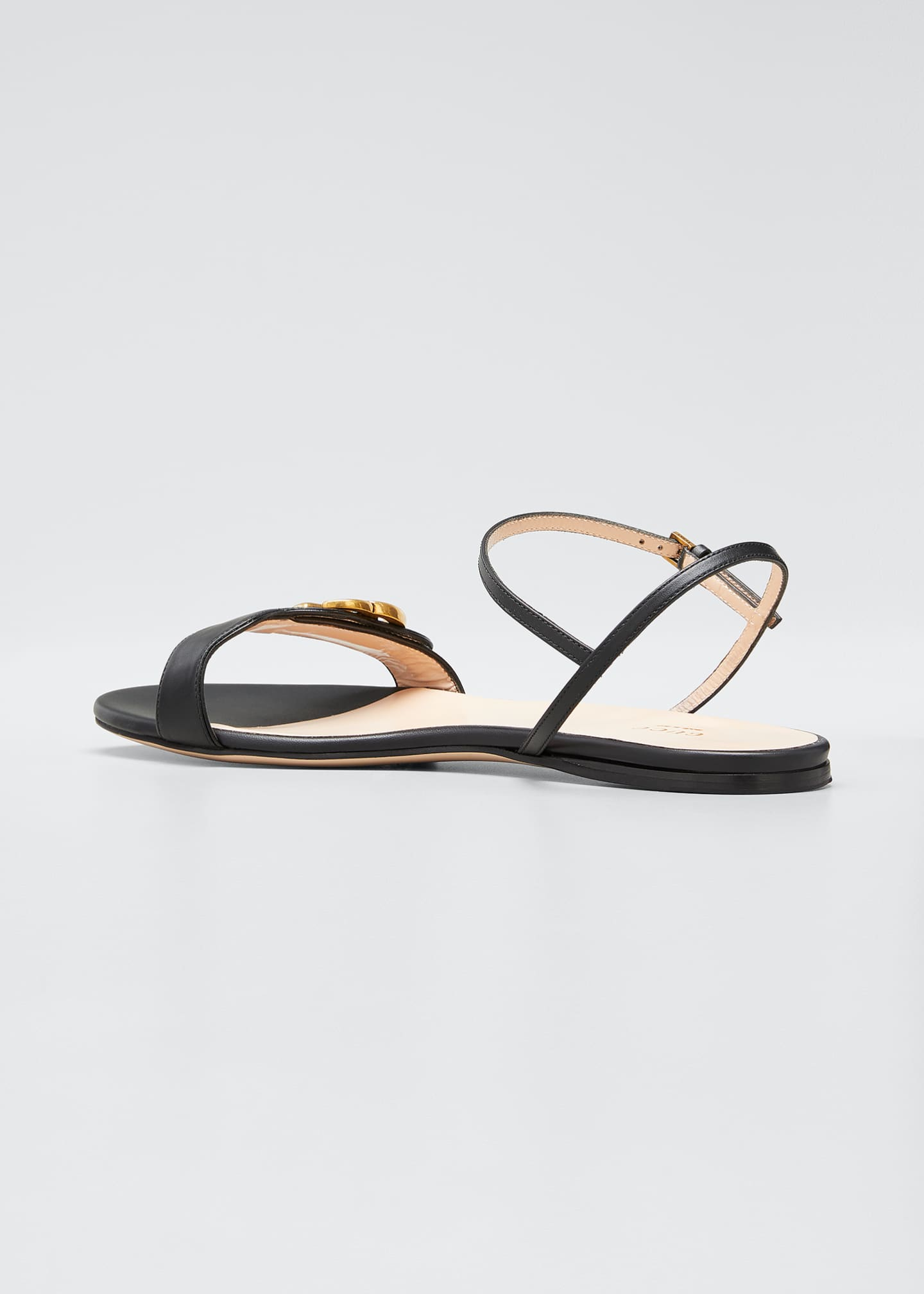 Image 3 of 4: Marmont Flat Double-G Leather Sandals