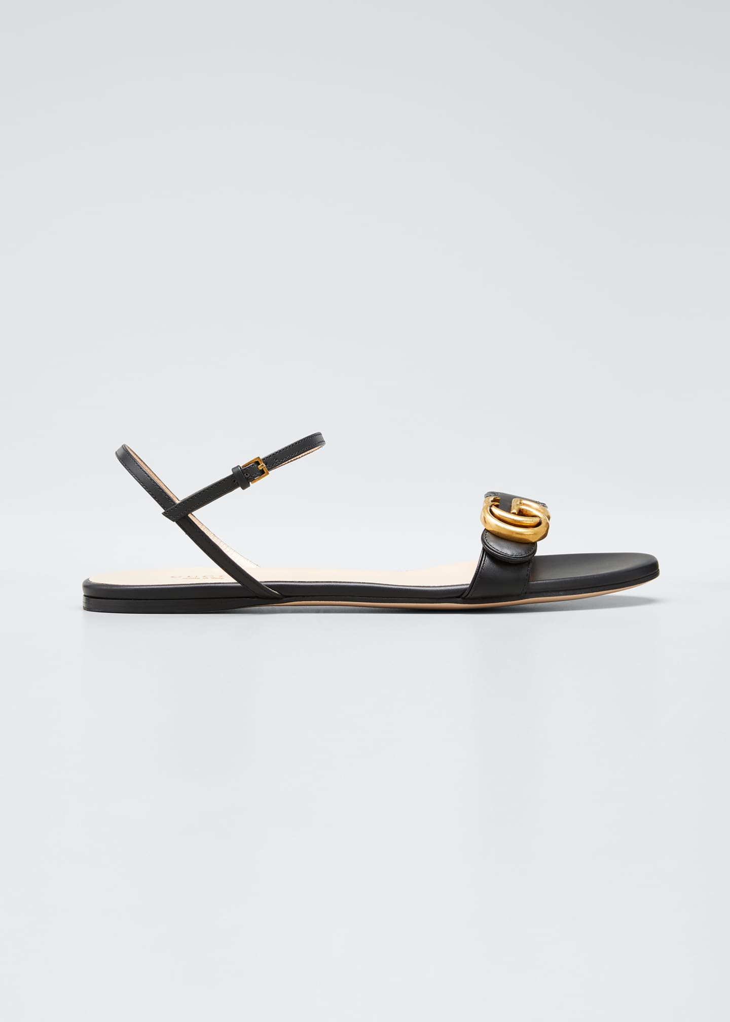 Image 1 of 4: Marmont Flat Double-G Leather Sandals