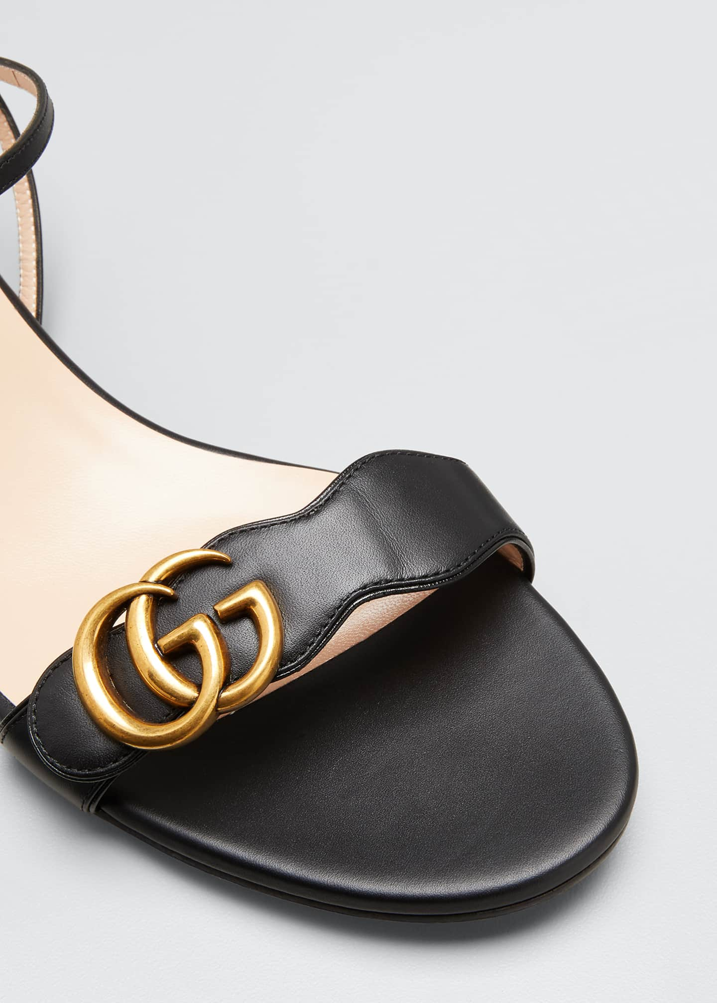 Image 4 of 4: Marmont Flat Double-G Leather Sandals