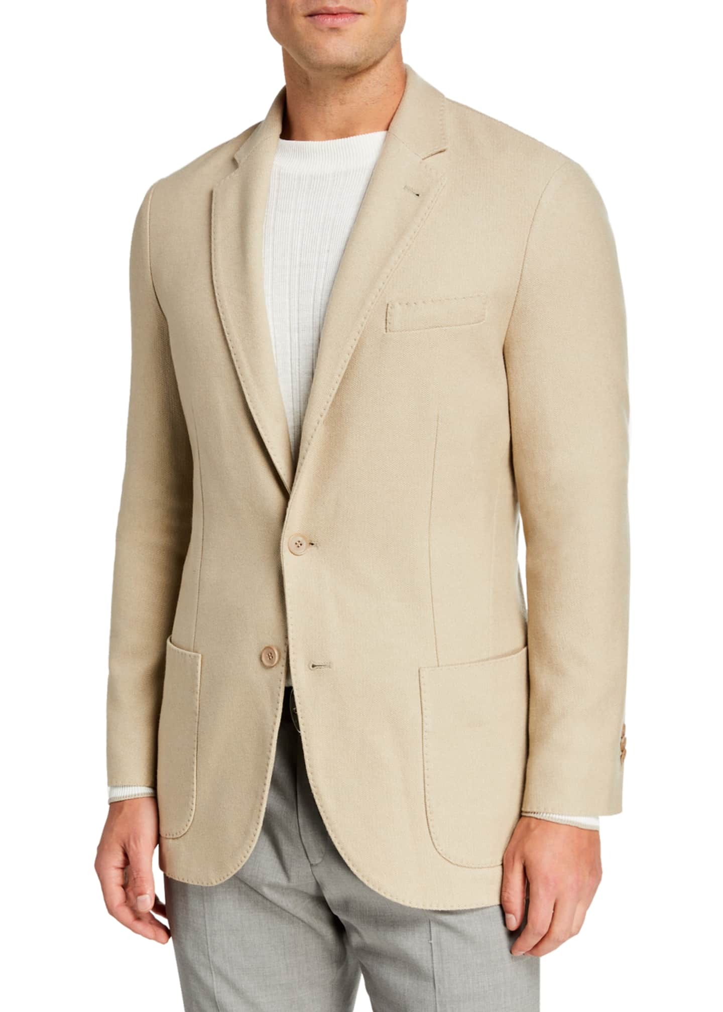 Image 1 of 2: Men's Houndstooth Two-Button Soft Jacket