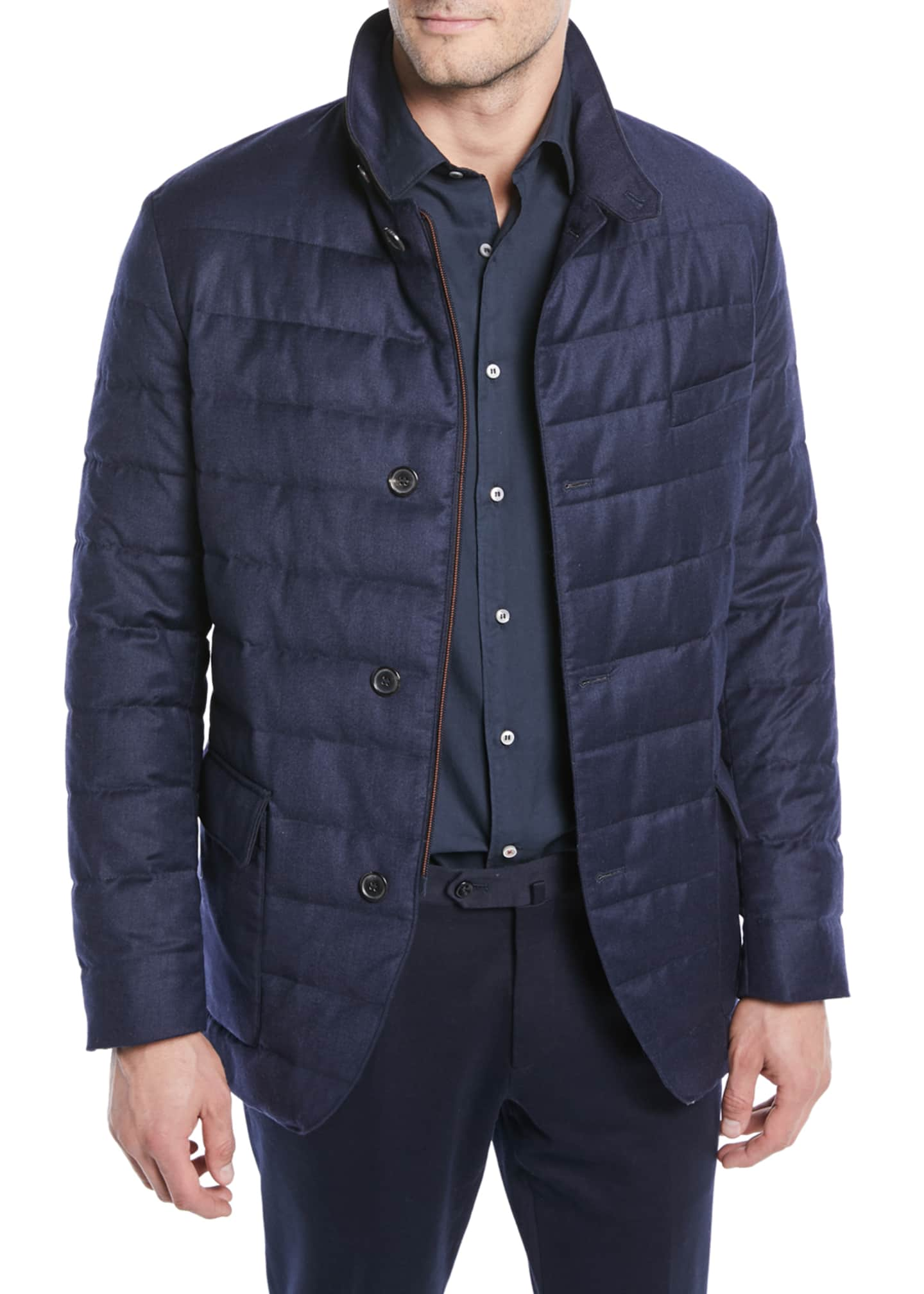 Loro Piana Men's Quilted Roadster Button-Front Jacket