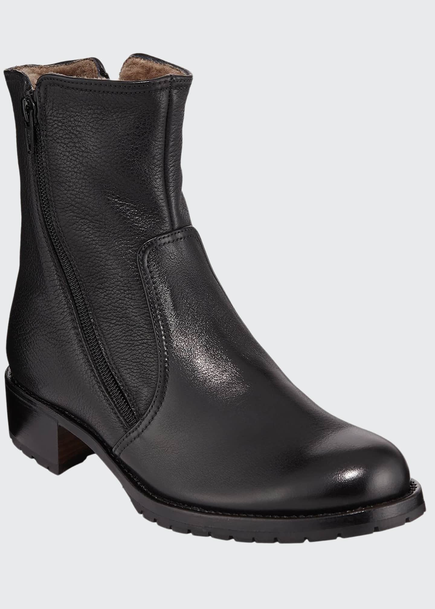 Gravati Two Zipper Leather Booties
