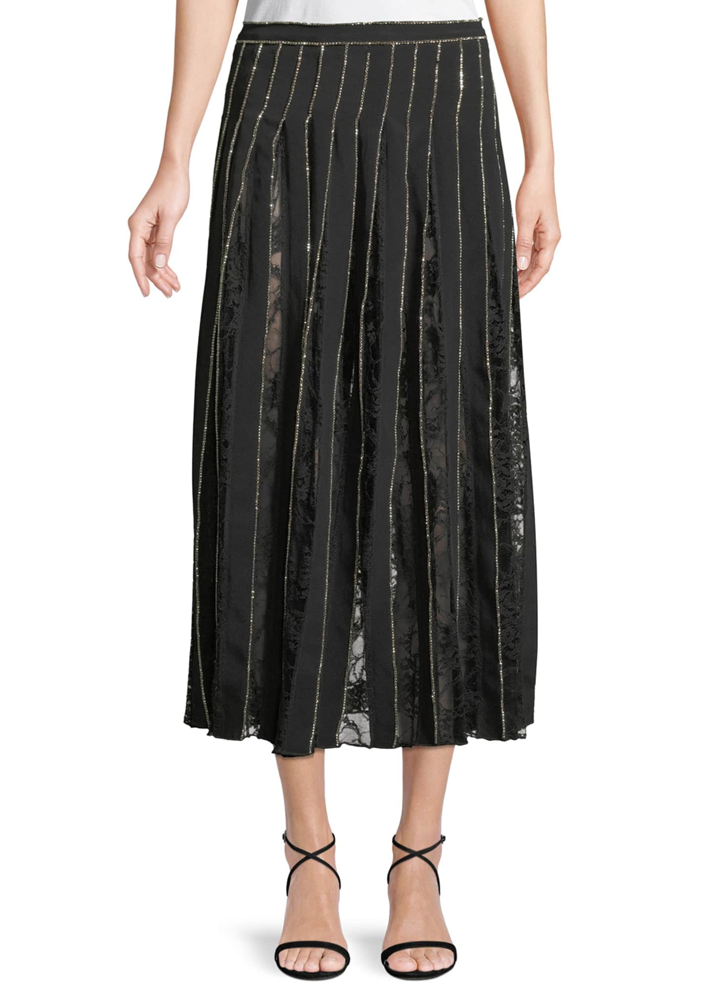 Adam Lippes Crystal-Embroidered Pleated Silk Crepe A-Line Skirt