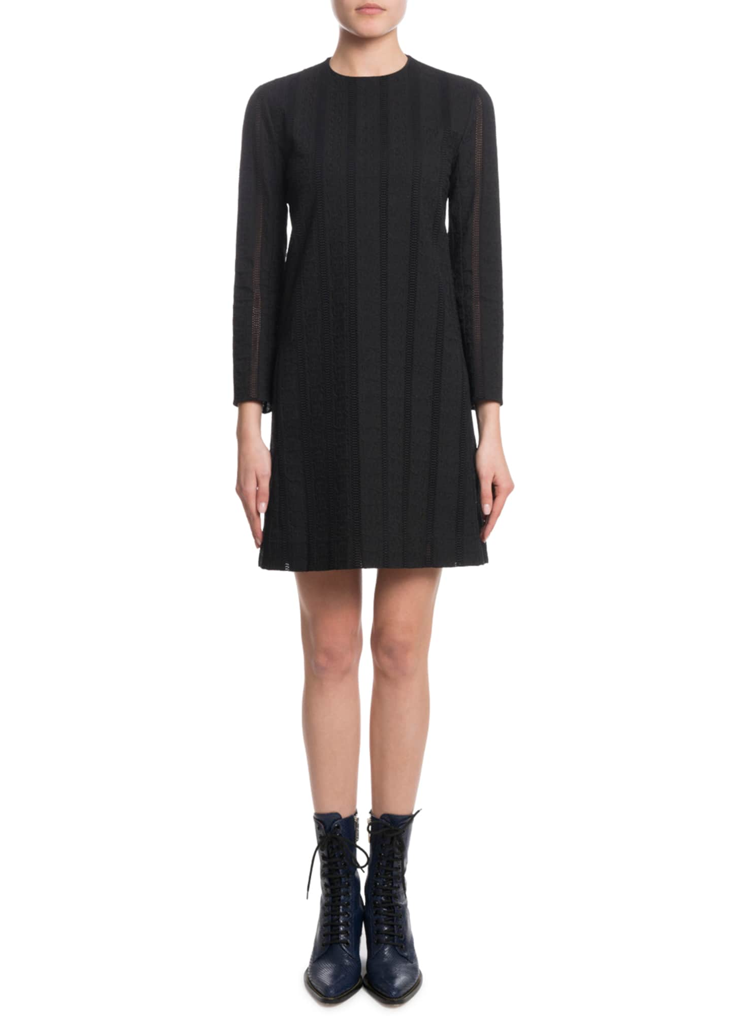 Chloe Bracelet-Sleeve Owl-Eye Embroidery Cotton Voile Dress