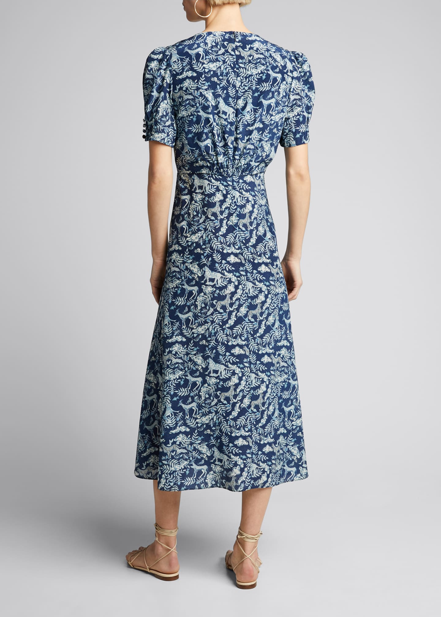 Image 2 of 5: Lea Floral Button-Front Midi Dress