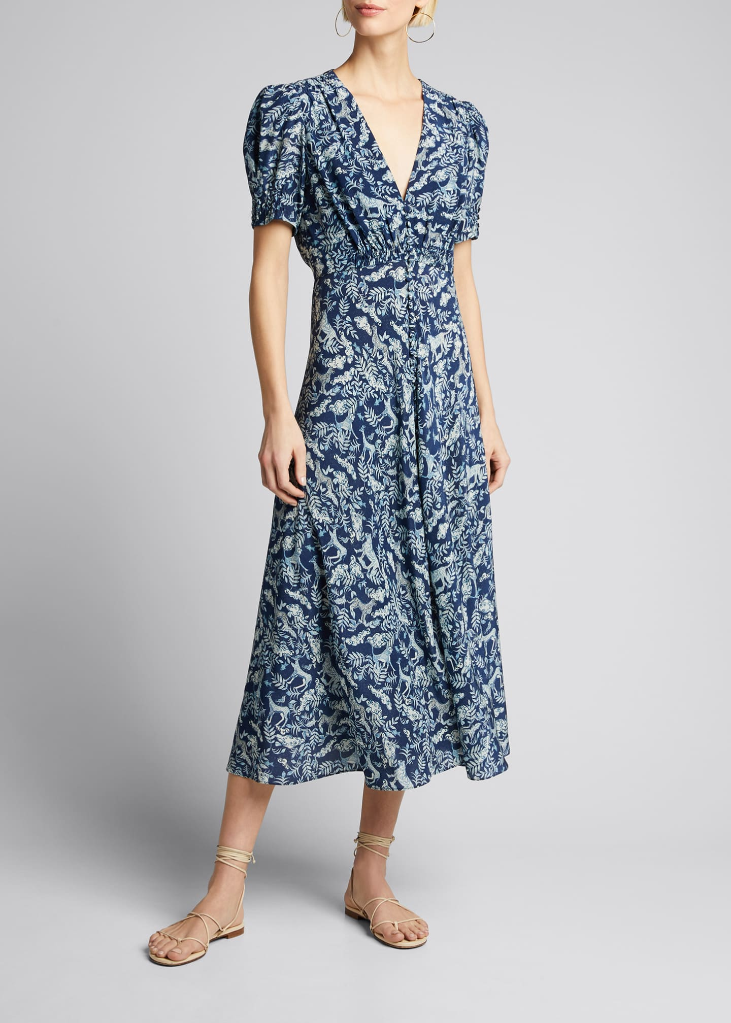 Image 3 of 5: Lea Floral Button-Front Midi Dress