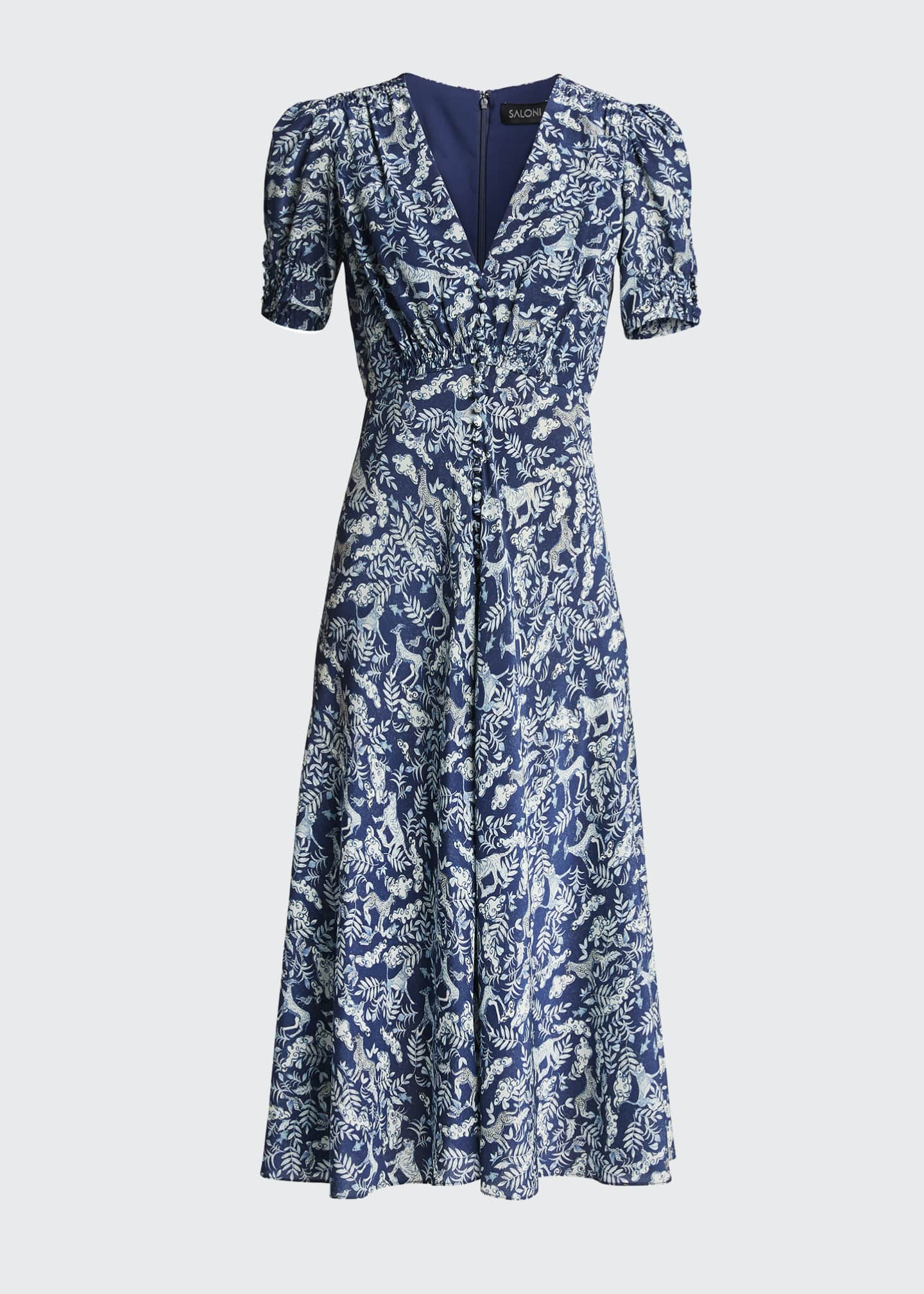 Image 5 of 5: Lea Floral Button-Front Midi Dress
