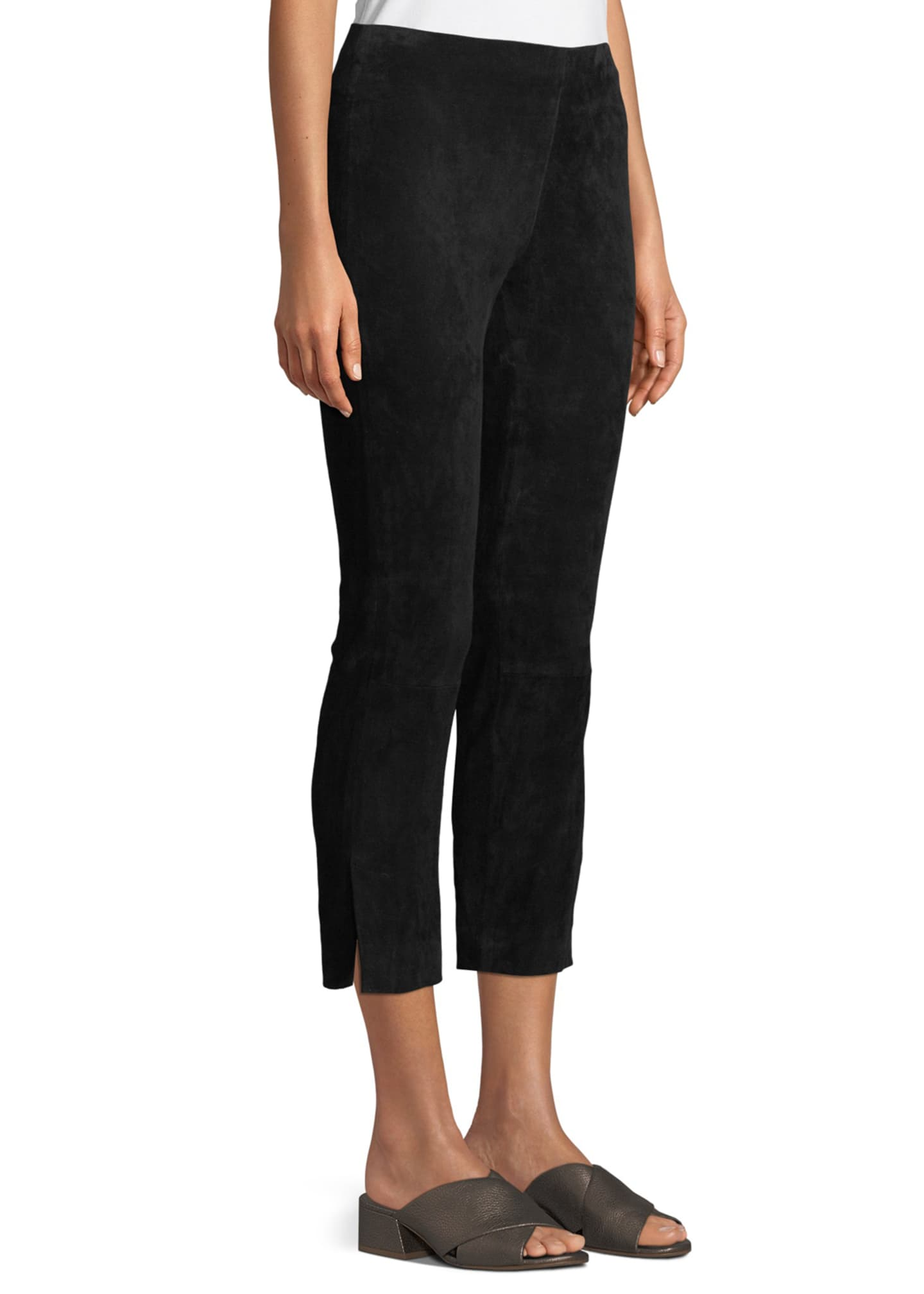 Image 3 of 4: Stretch-Suede Split Hem Crop Pants