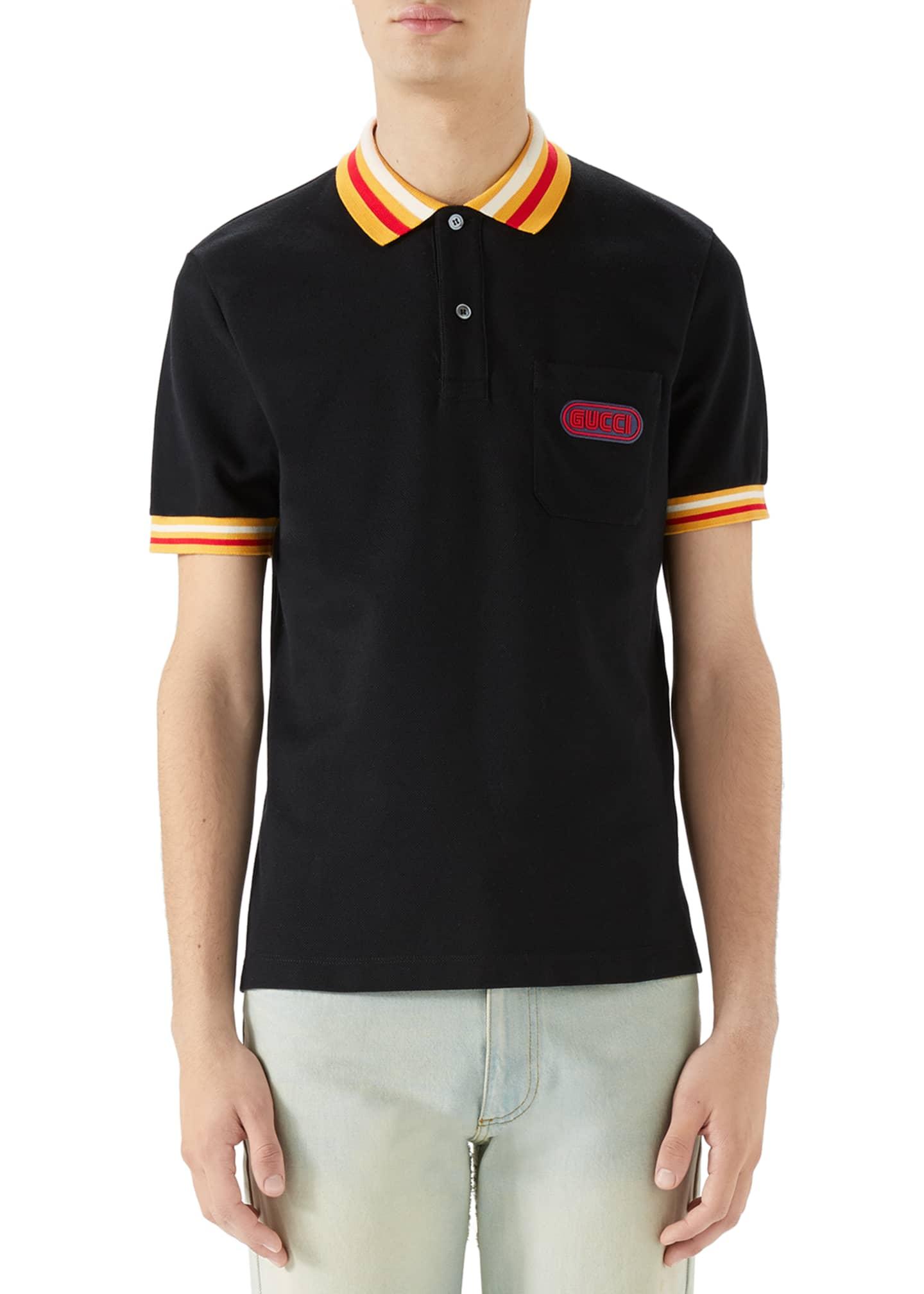 Gucci Men's Piqué-Knit Polo Shirt with Contrast Color
