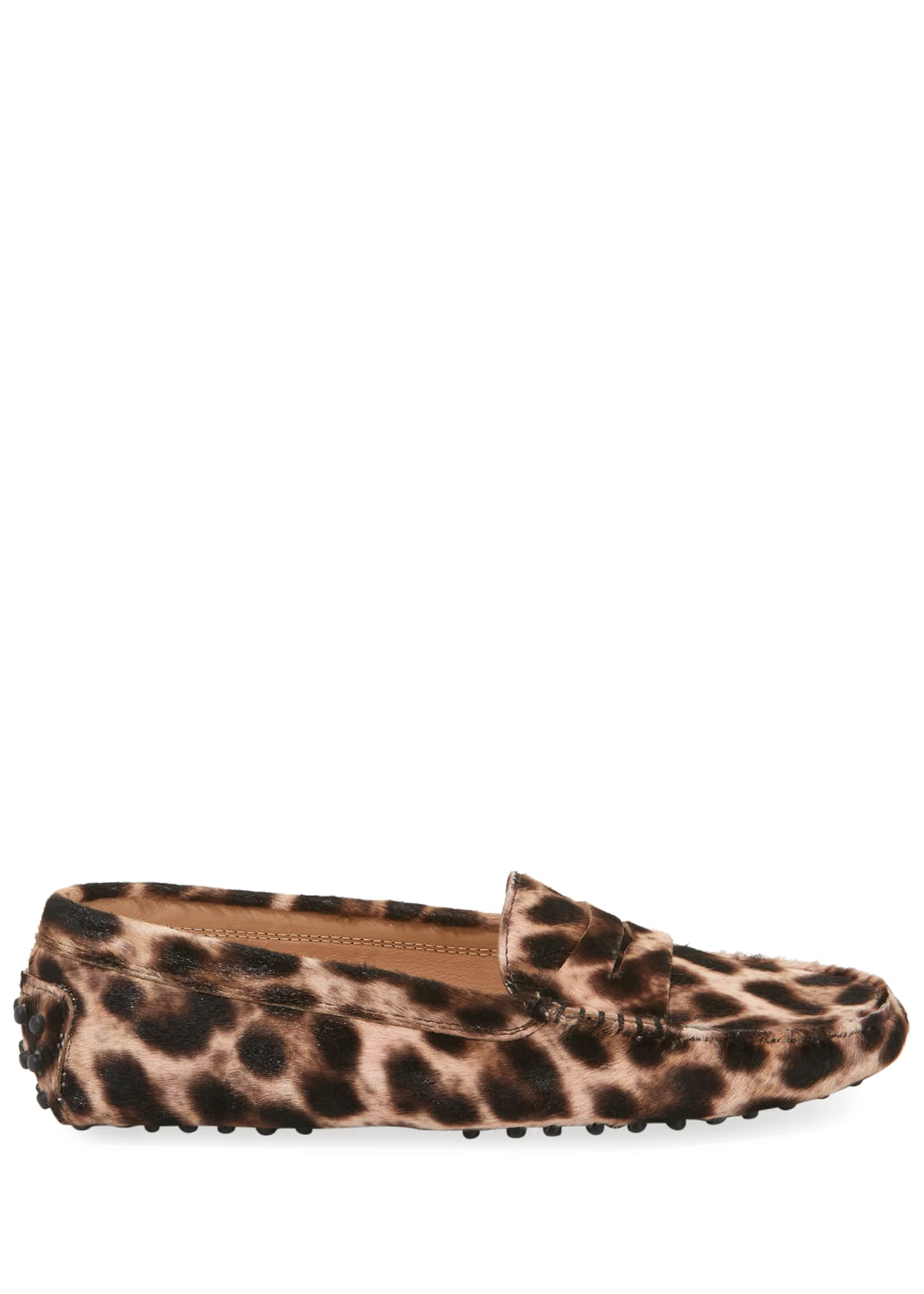 Image 2 of 3: Leopard-Print Gommini Flat Penny Loafers